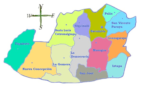 Political map of Escuintla