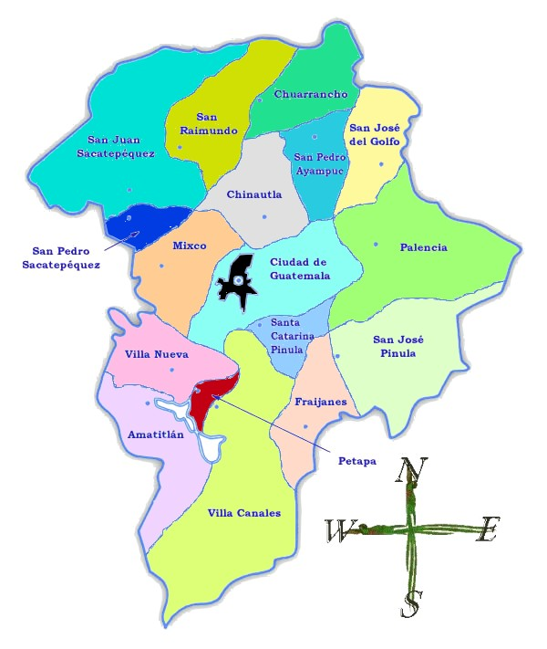 Political map of Guatemala Department