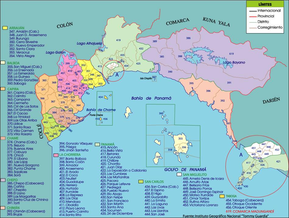 Mapa político de la provincia de Panamá
