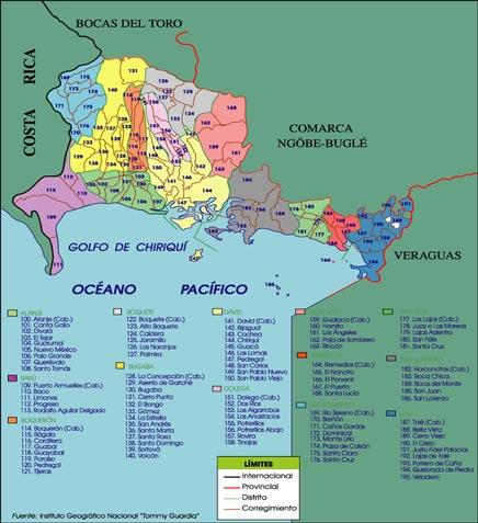 Mapa político de Chiriquí