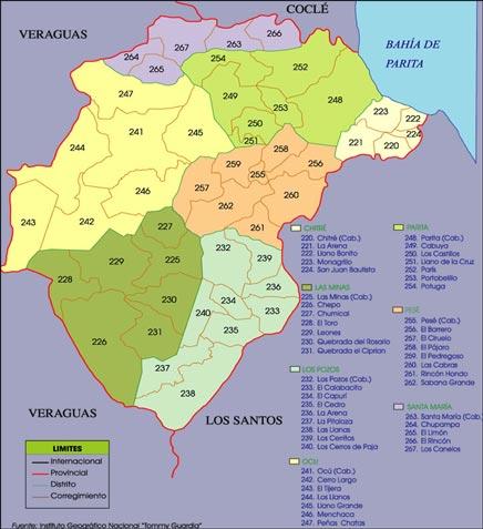 Mapa político de Herrera
