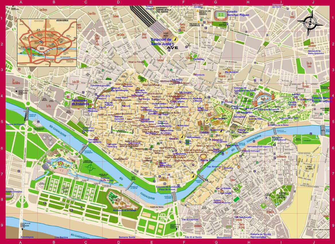 Sevilla map, Spain