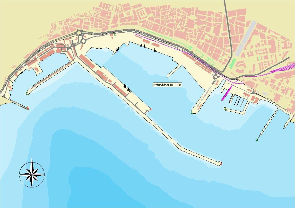 Mapa del puerto de Almería