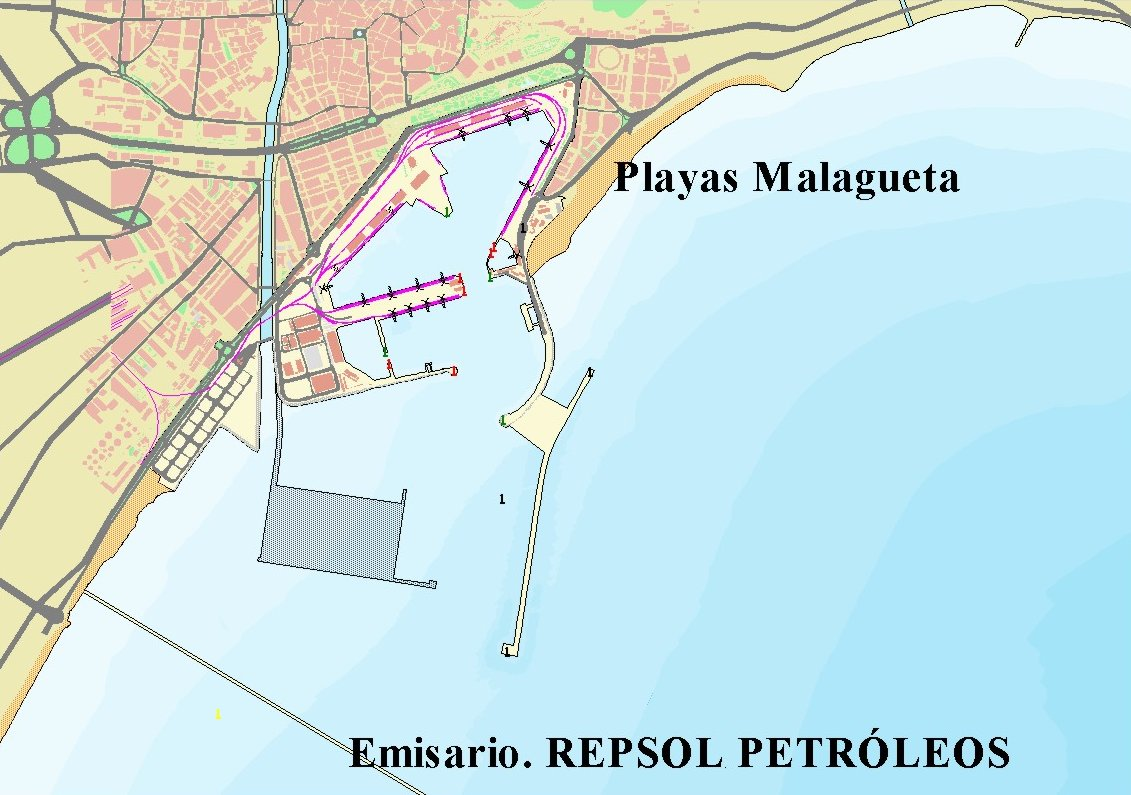 Mapa del puerto de Málaga
