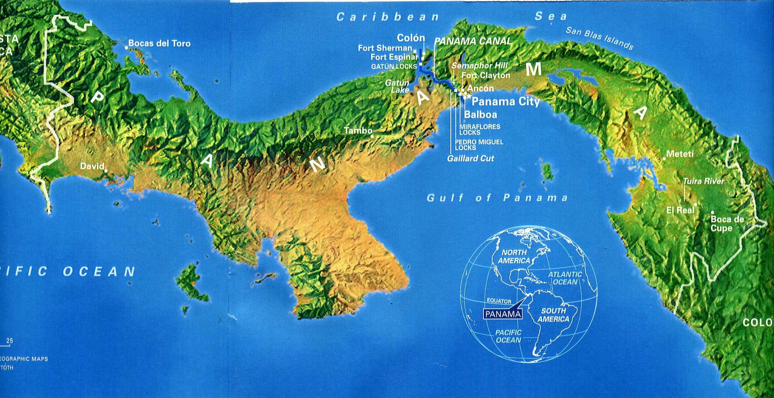 Mapa físico de Panamá.Mostrando datos de País de Panama en America ...