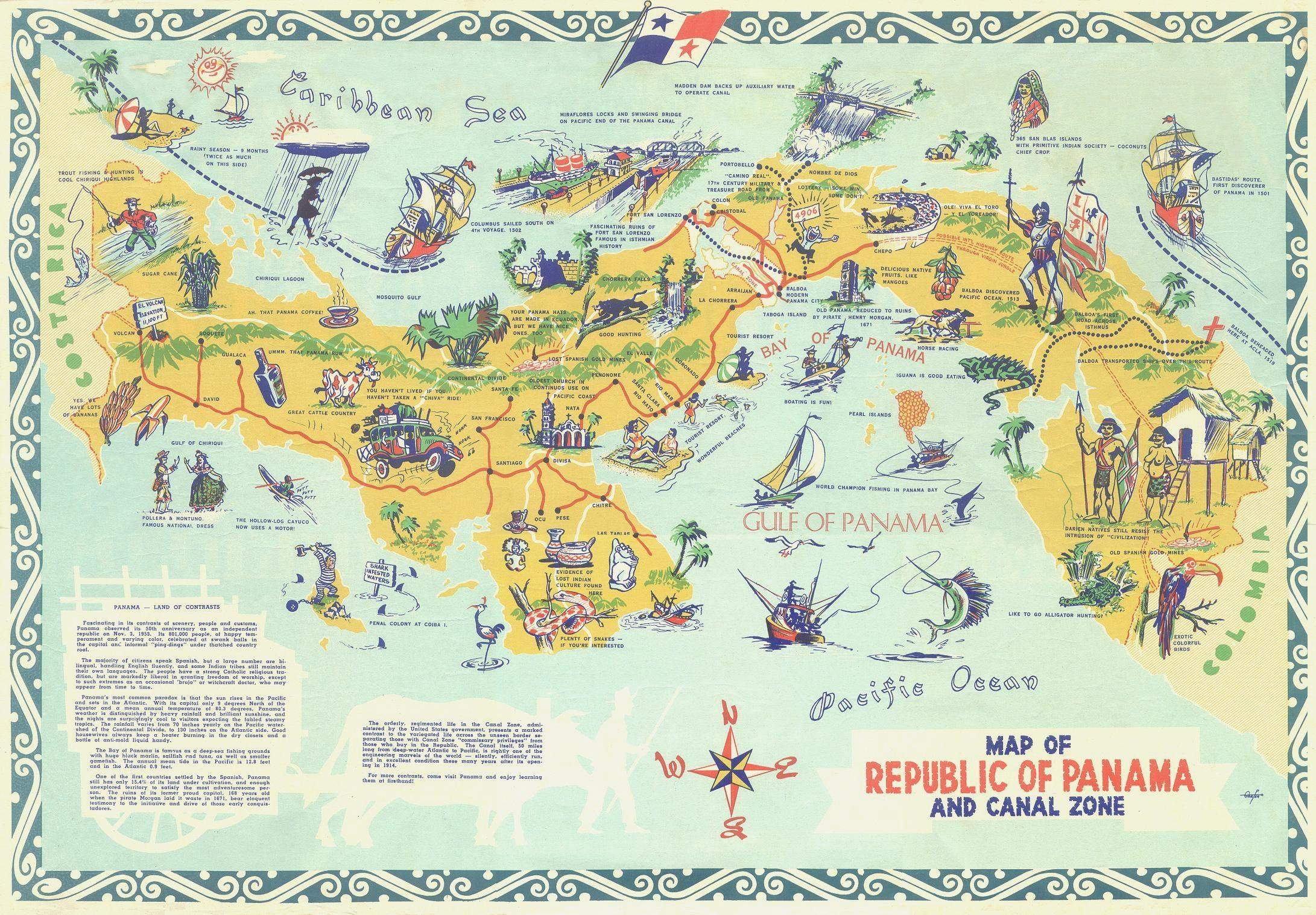 Tourist map of Panama