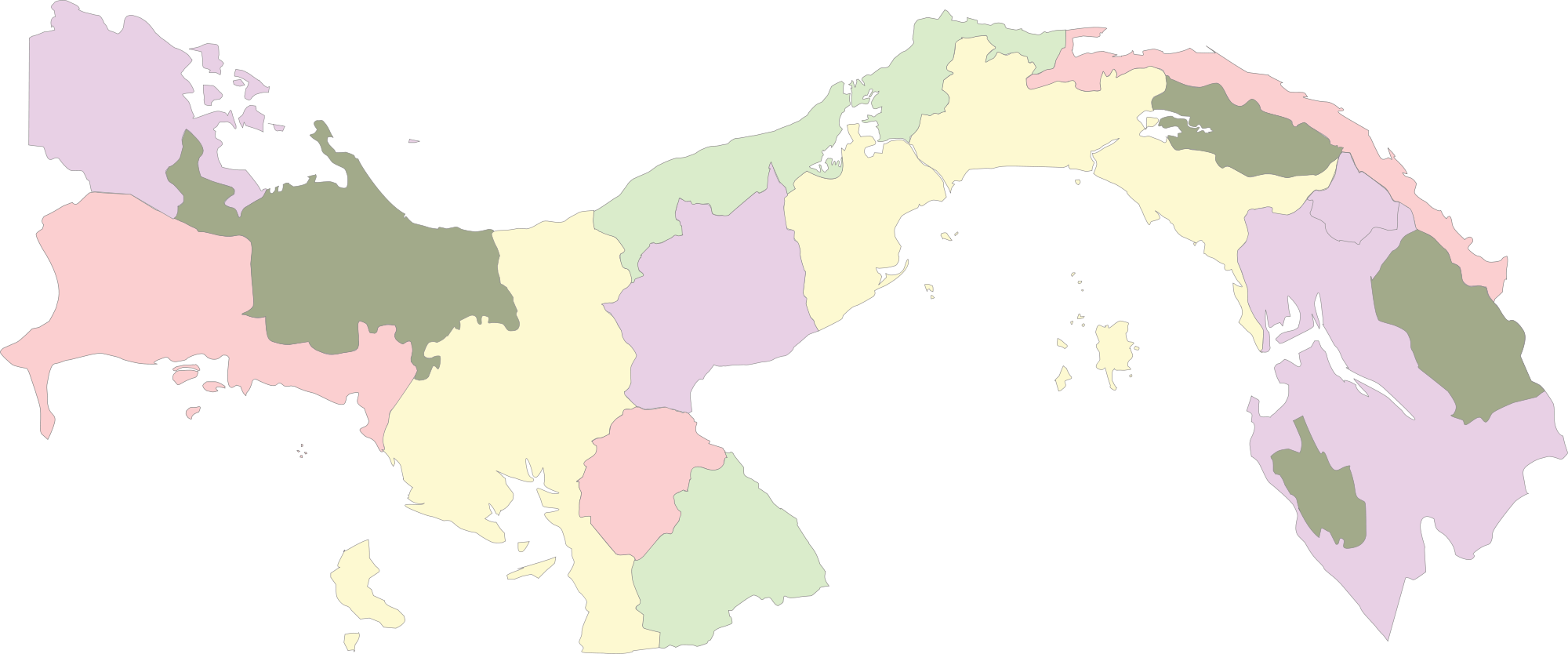 Colored blank map of Panama