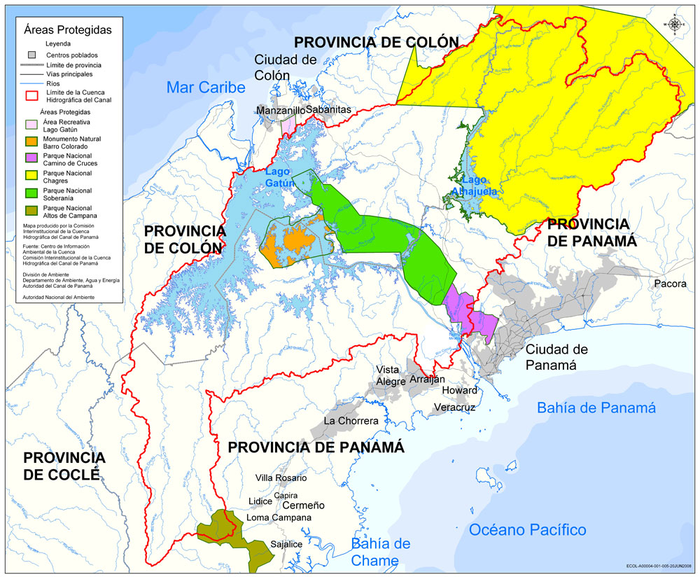 Protected areas of the Panama Canal watershed 2009