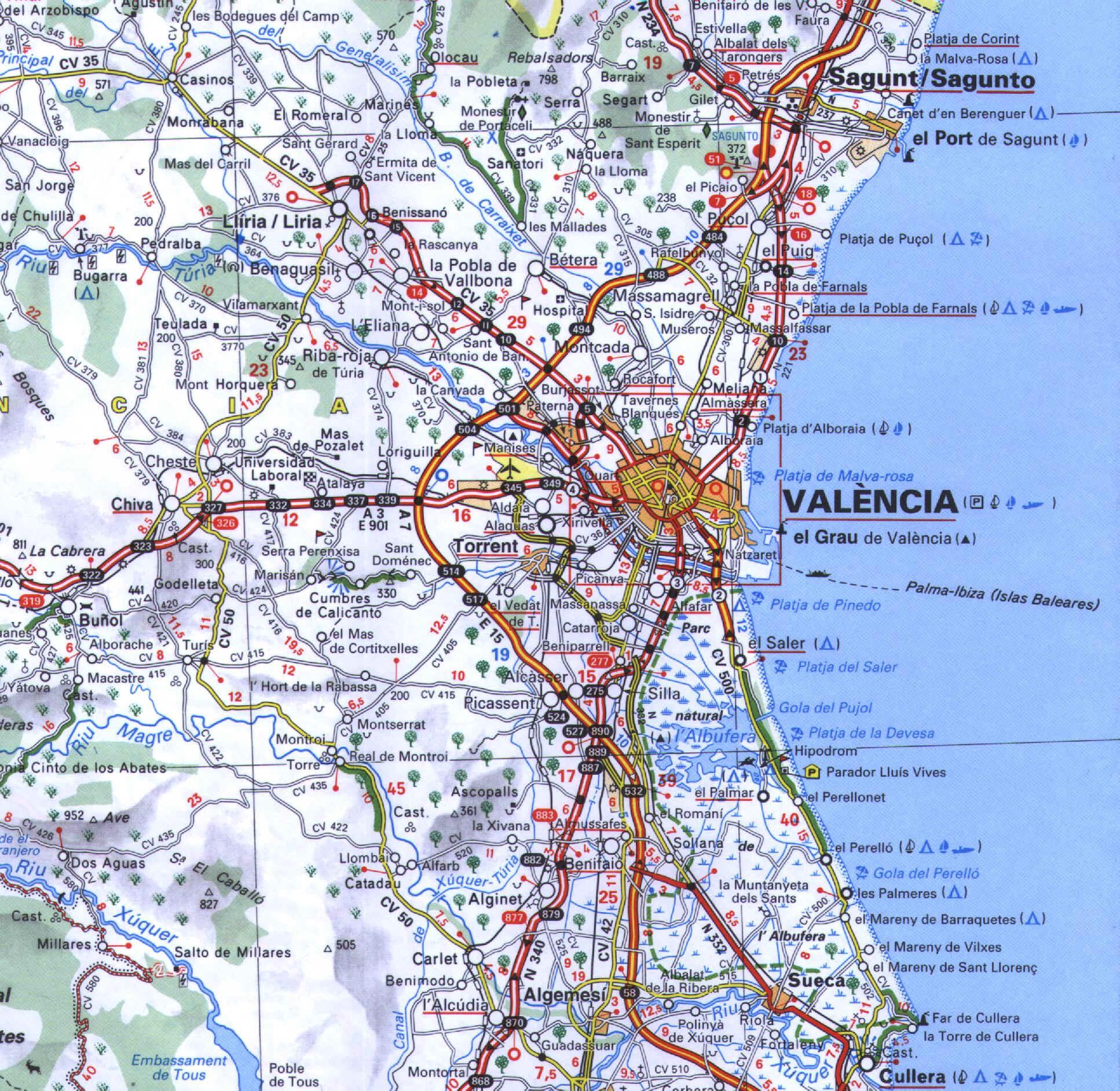 Mapa de acceso a Valencia