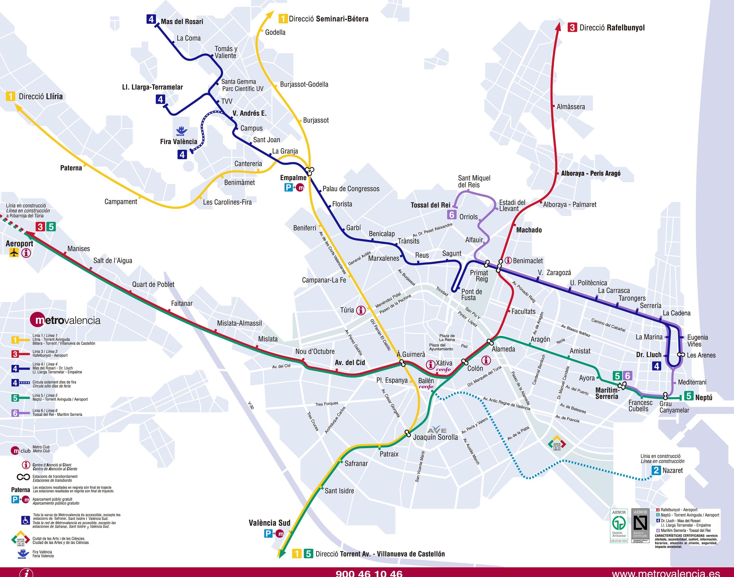 Metro of Valencia urban network 2011