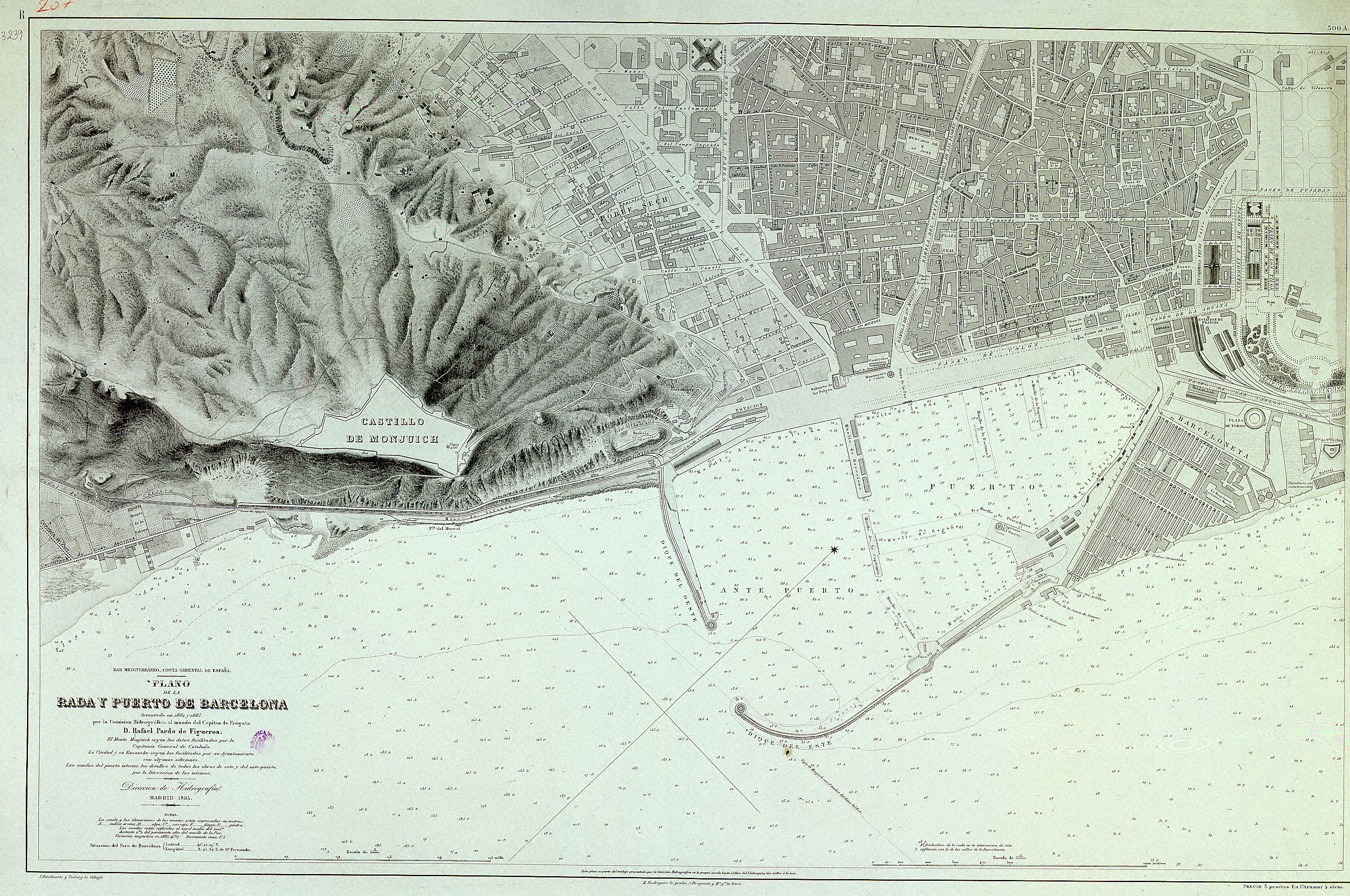 Map of the bay and port of Barcelona 1885