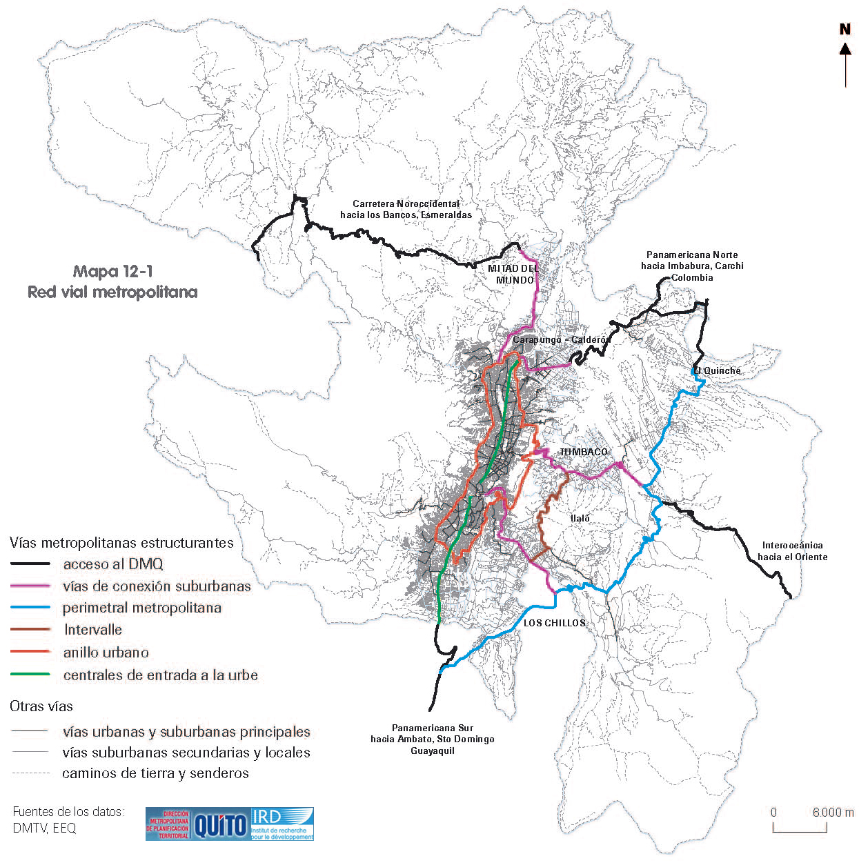 Quito metropolitan road network 2002