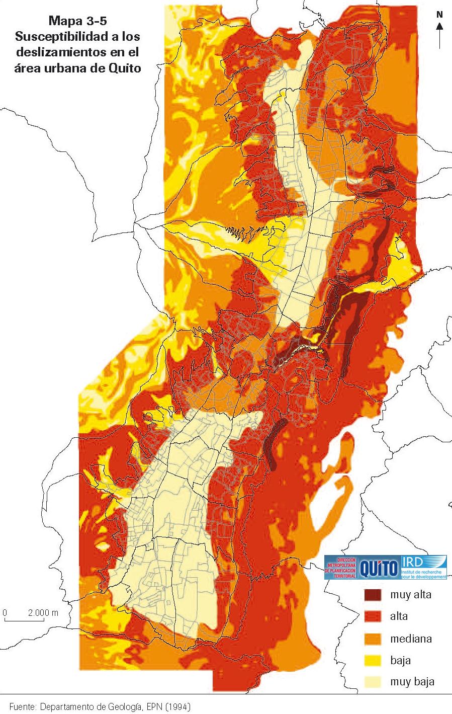 Susceptibilidad a los deslizamientos en Quito 1994