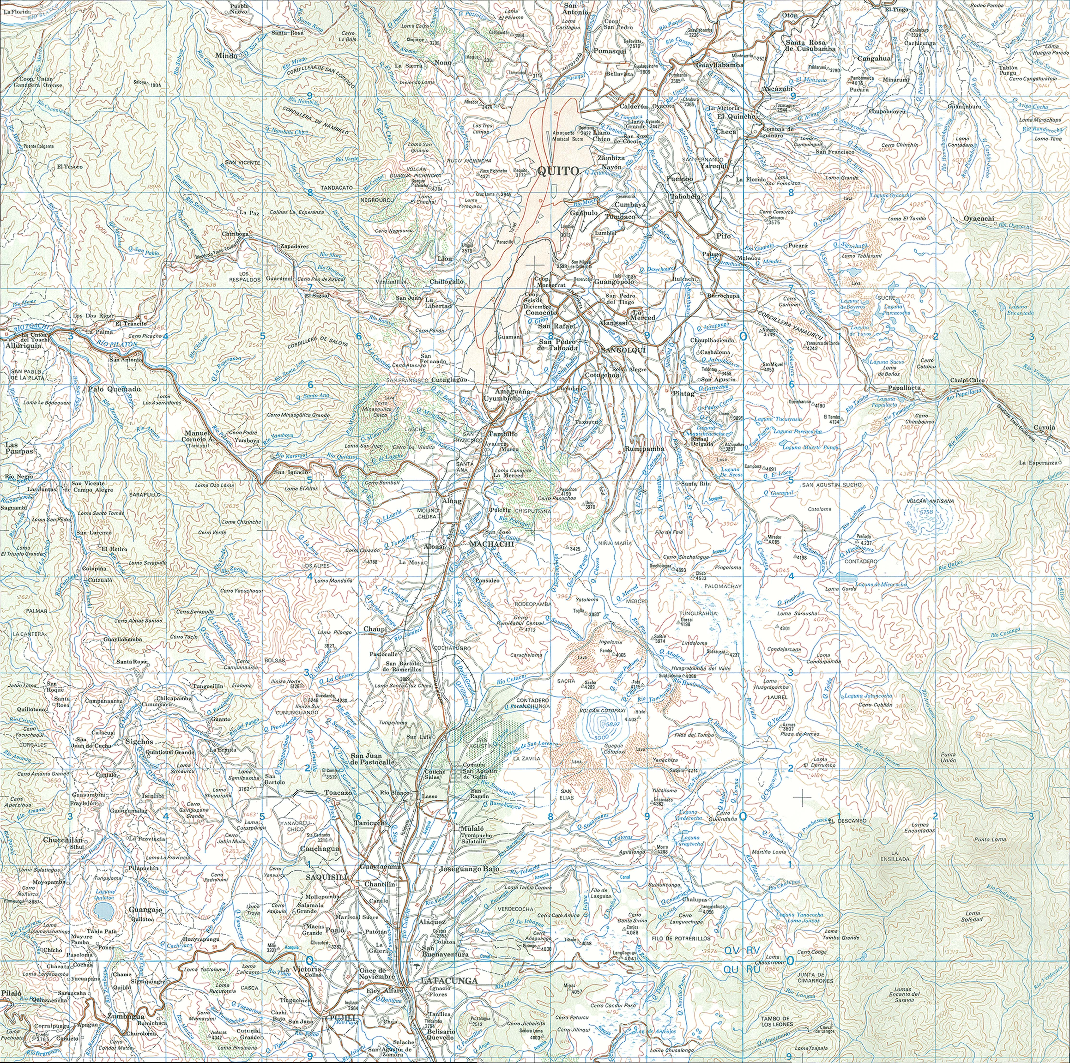Mapa topográfico de la región de Quito