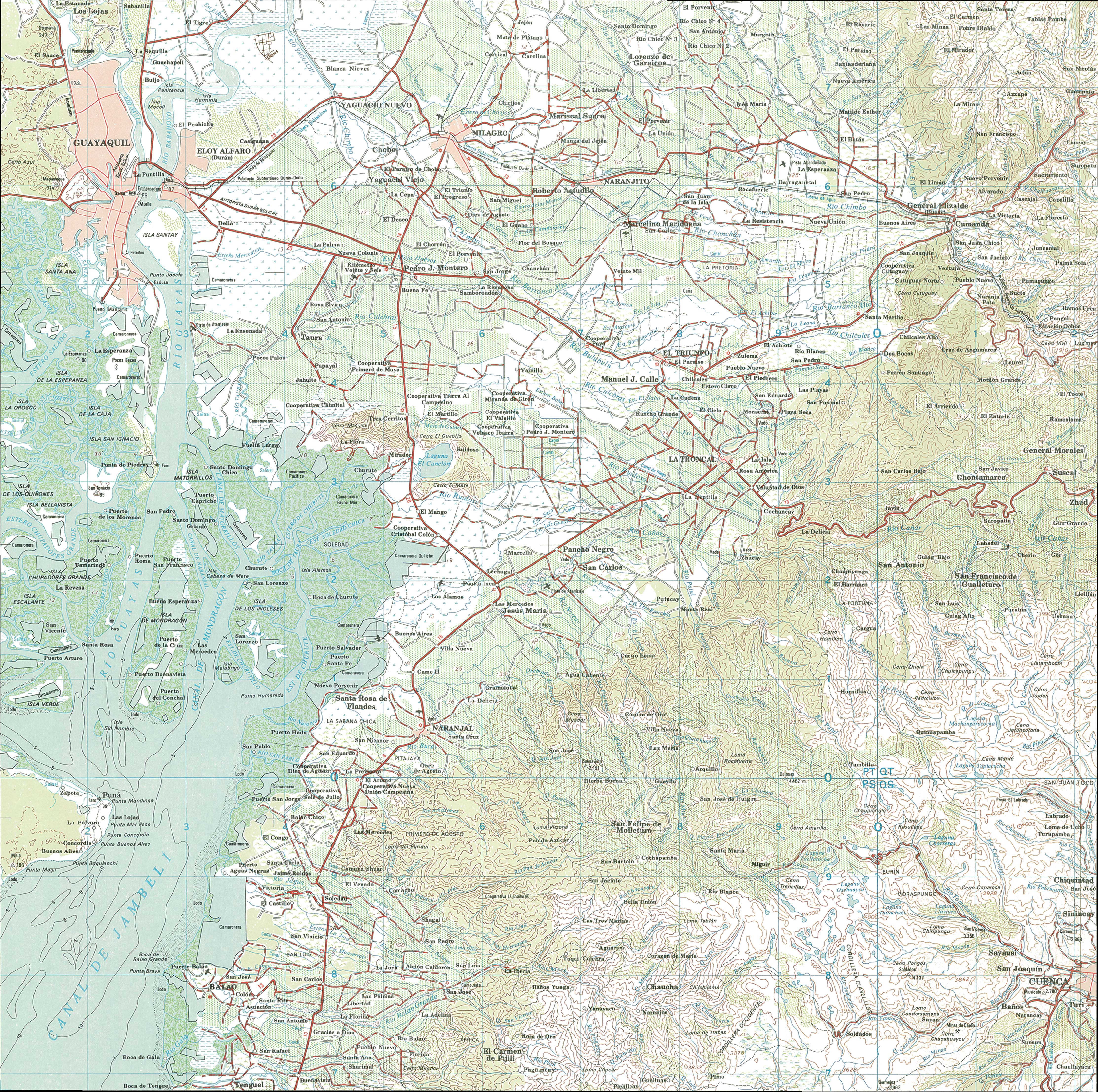 Mapa topográfico de la región de Guayaquil