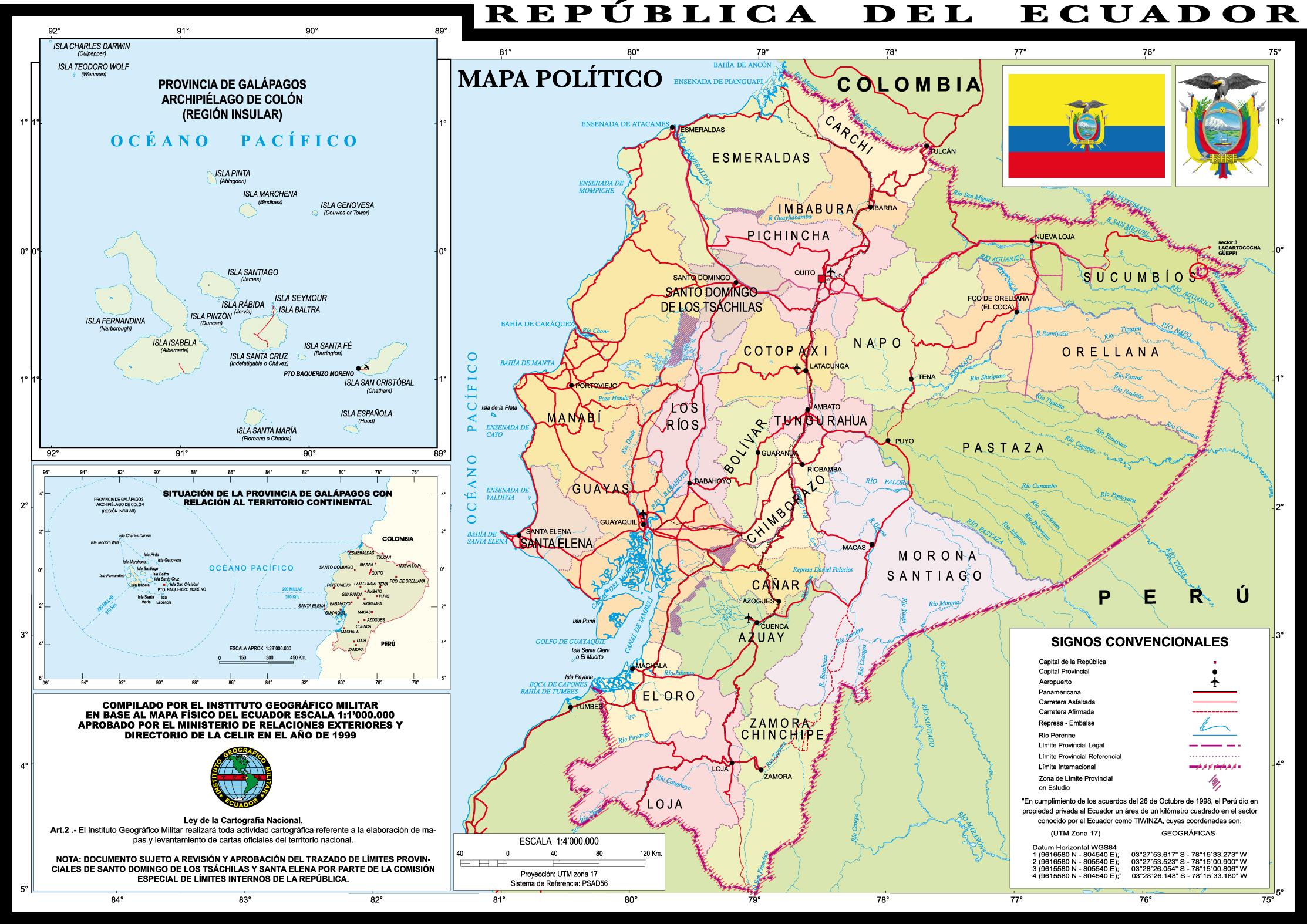 Political map of Ecuador 1999