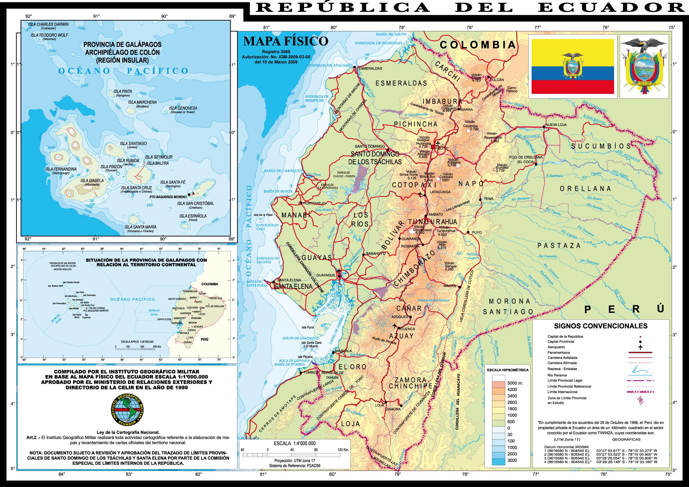 Physical map of Ecuador 1999