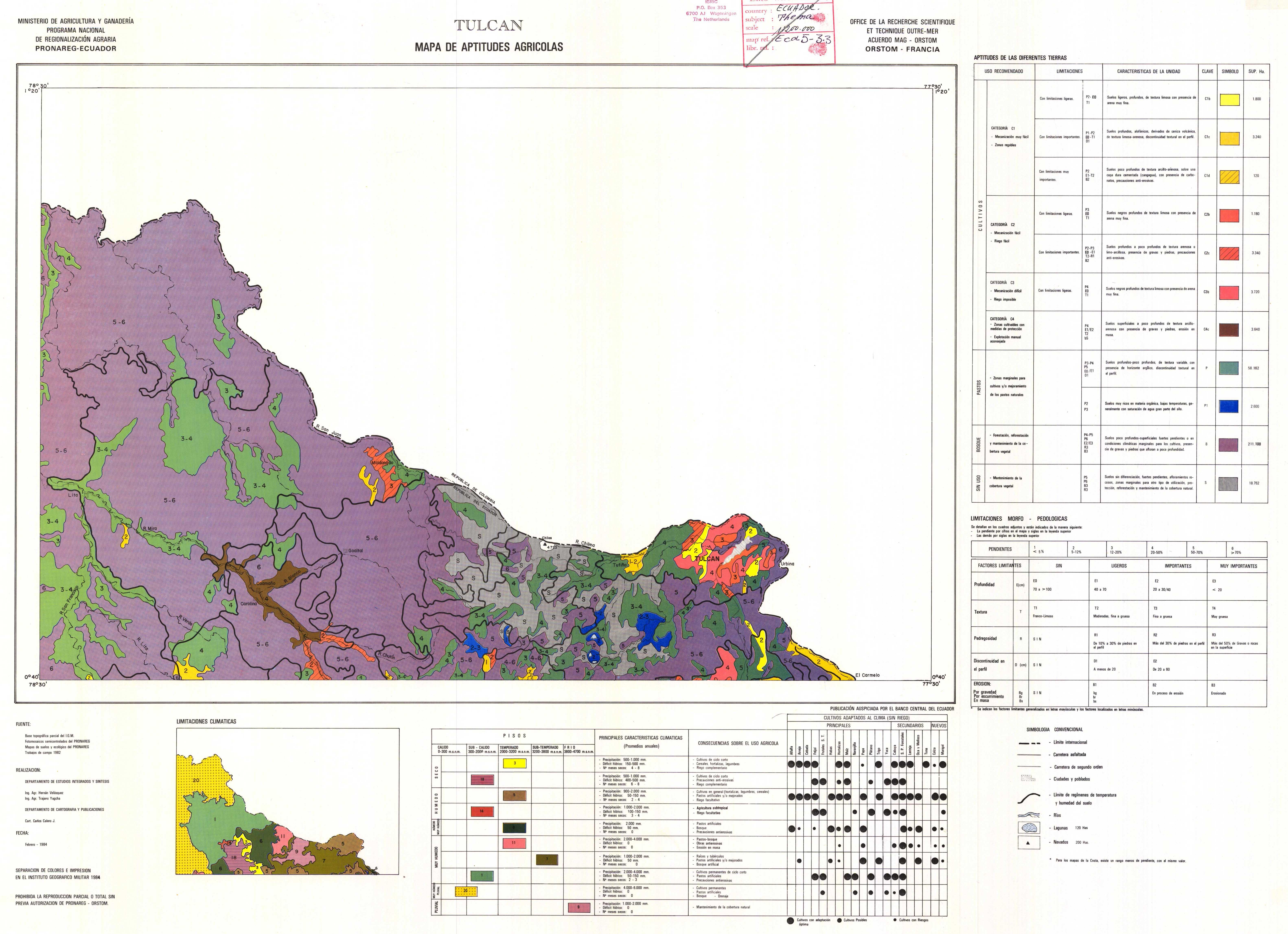 Aptitudes agrícolas de la región de Tulcán 1984