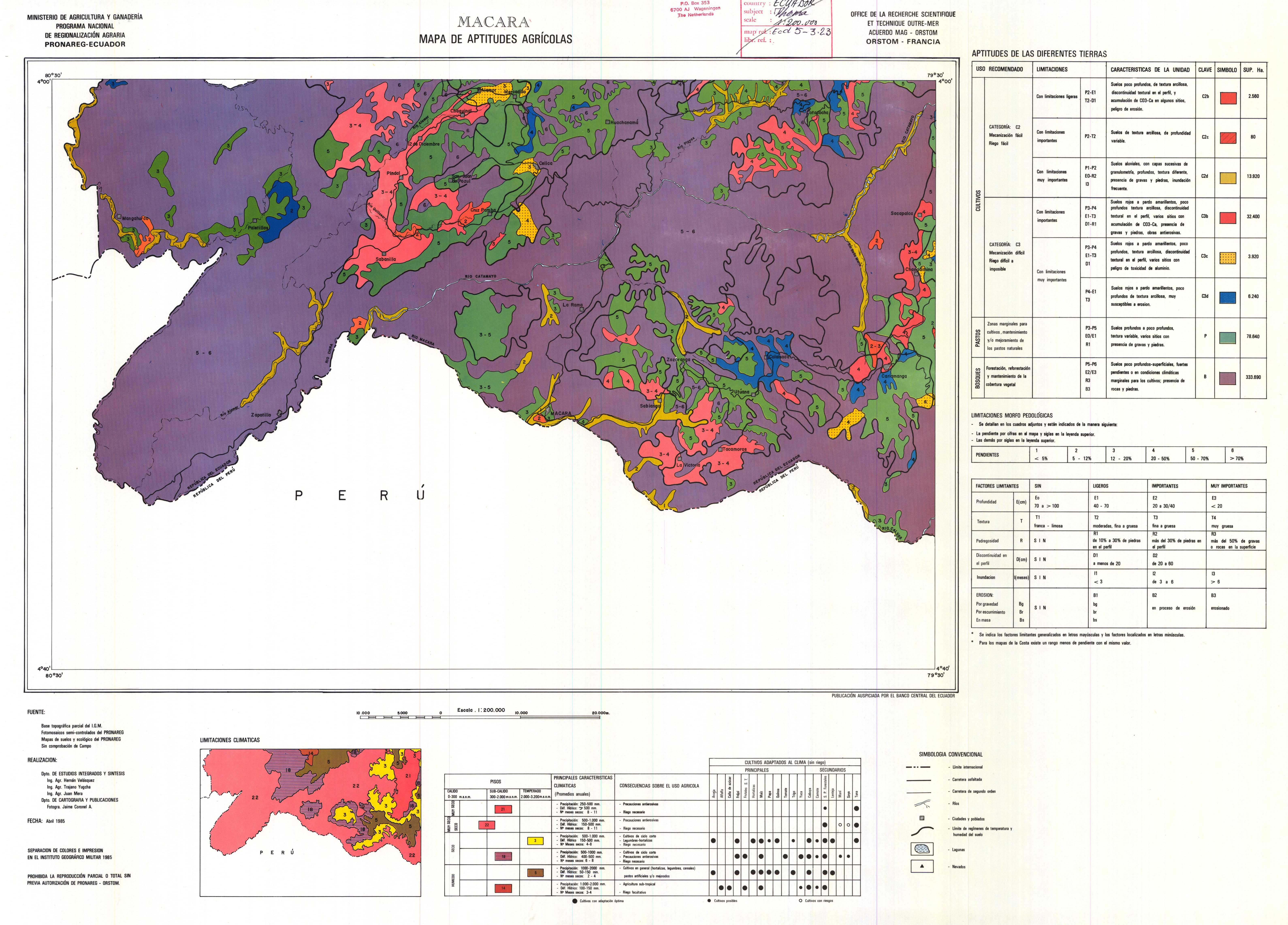 Aptitudes agrícolas de la región de Macará 1985