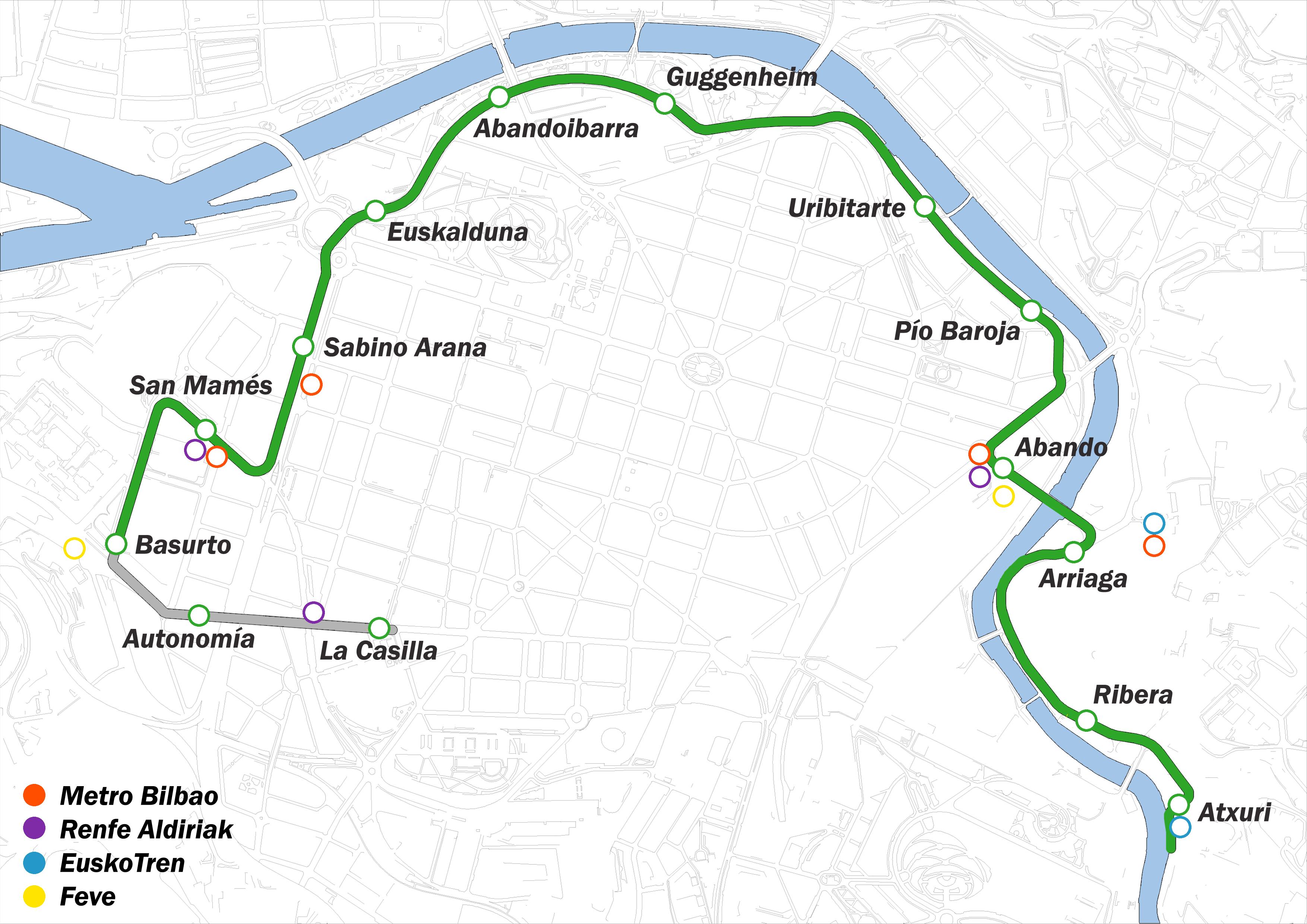 Plano de EuskoTran en Bilbao 2010