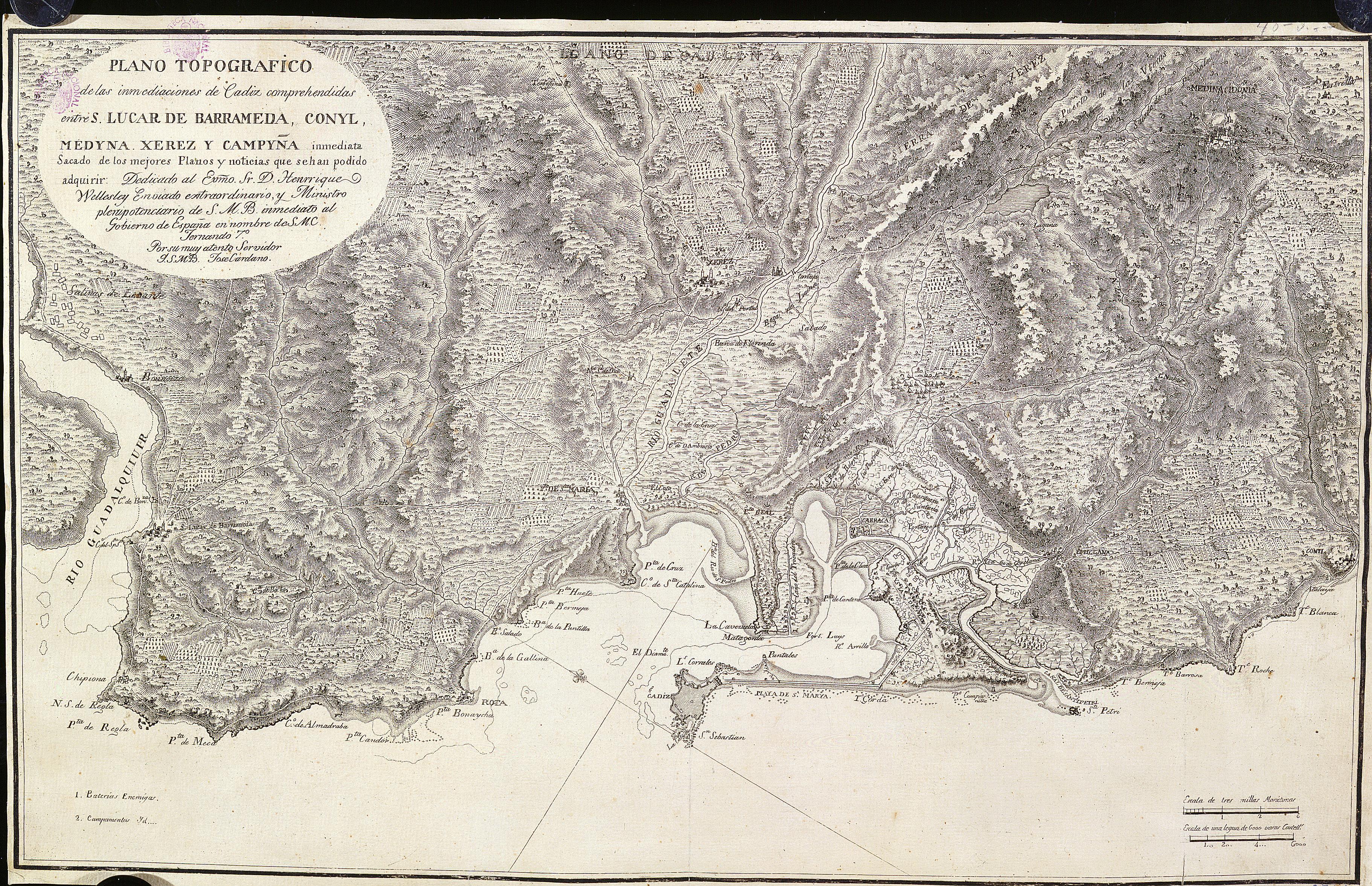Topographic map of Cadiz 1809