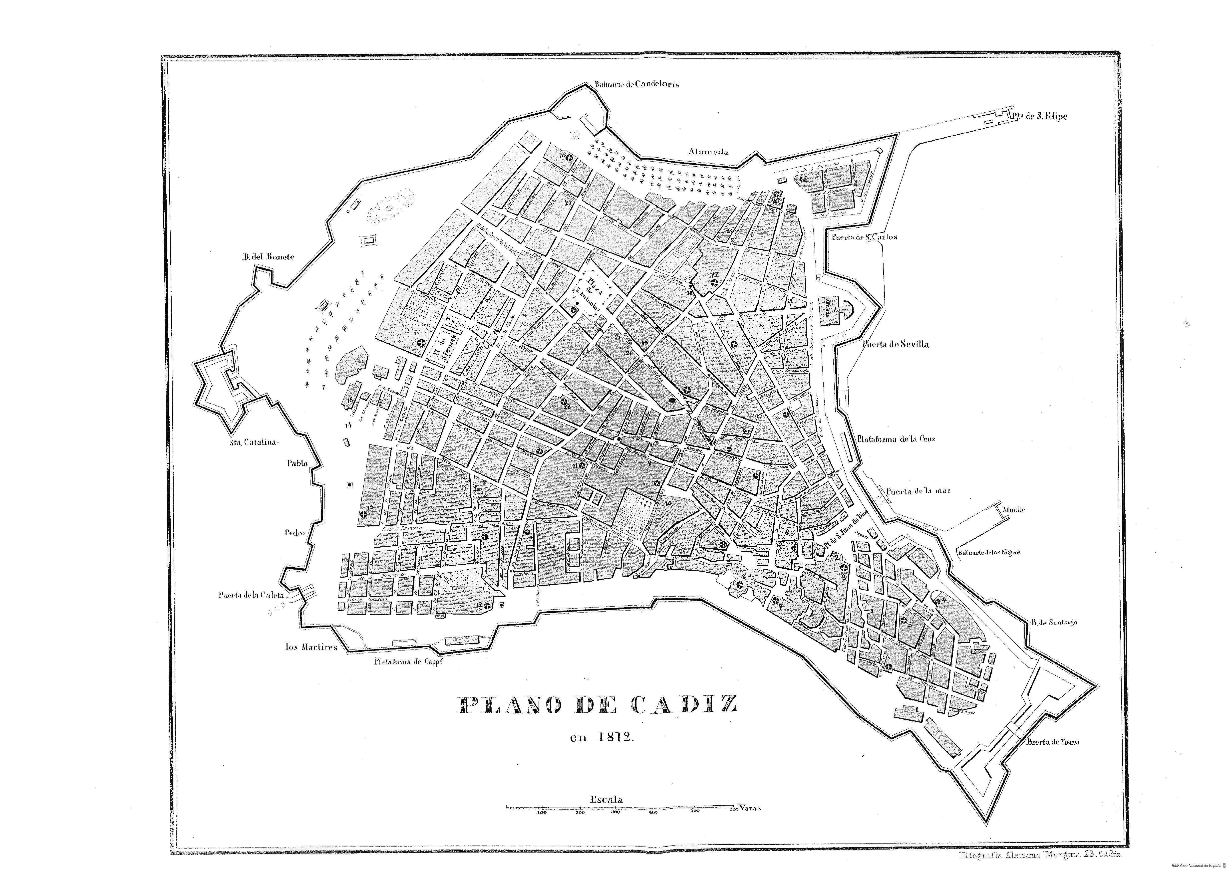 Ciudad de Cádiz en 1812
