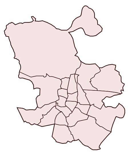 Blank political map of Madrid 2007
