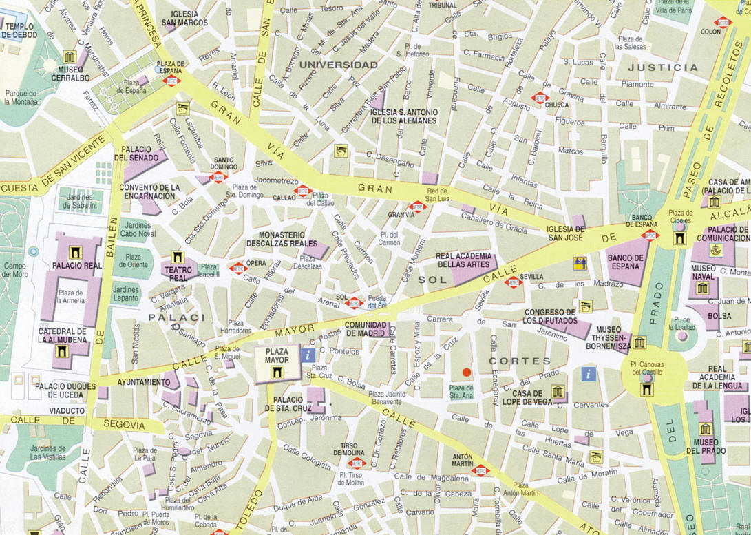 Map of Downtown Madrid Spain