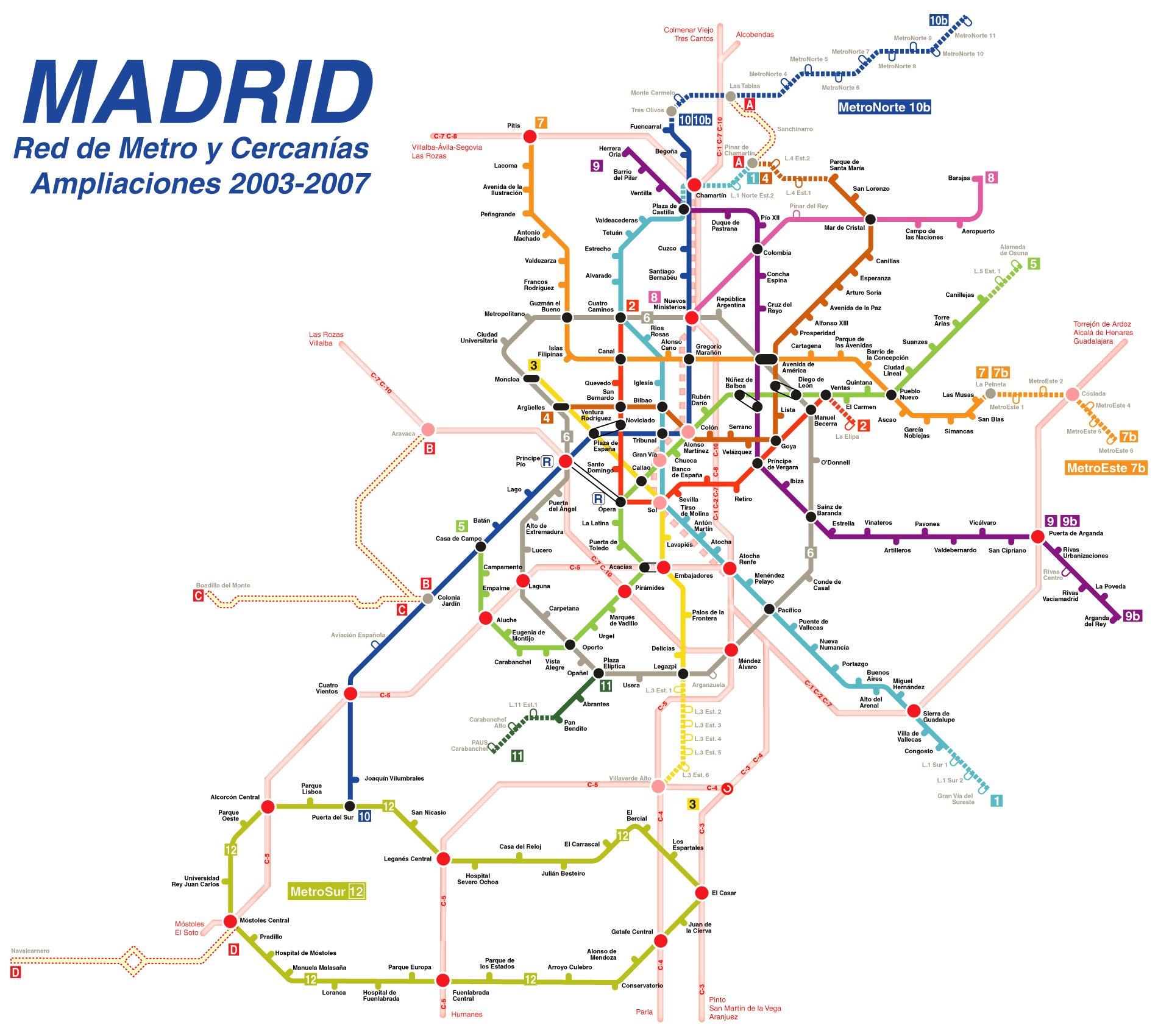 Red de Metro y Cercanías ampliaciones 2003-2007