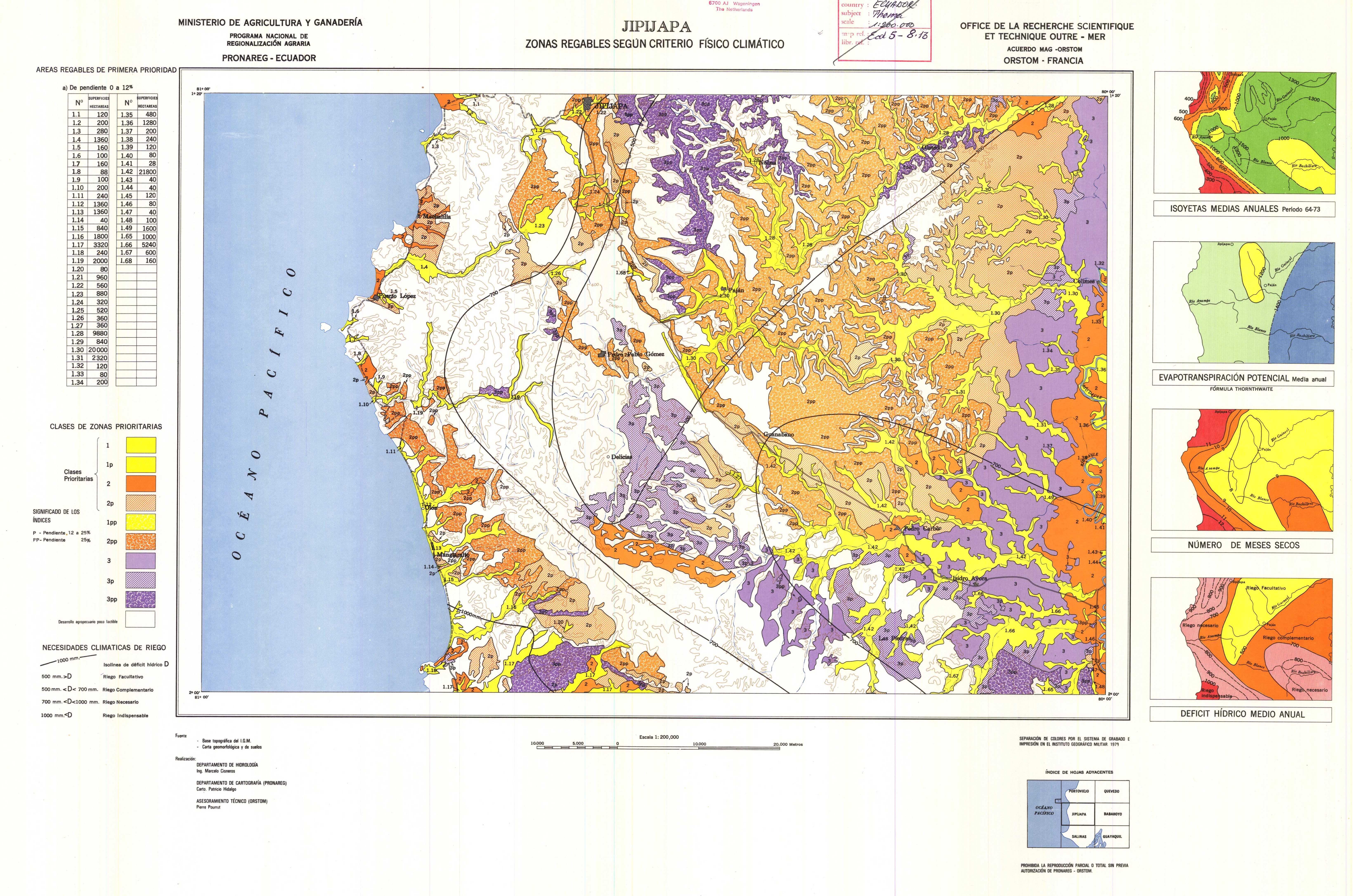 Zonas regables en la región de Jipijapa 1979