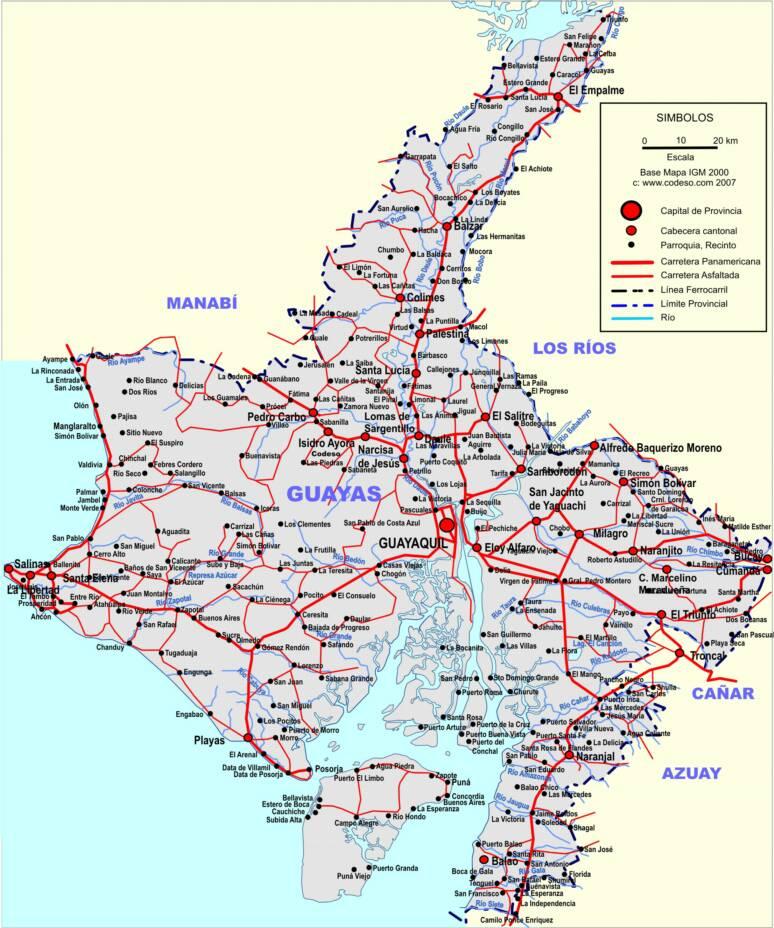 Mapa de carreteras del Guayas