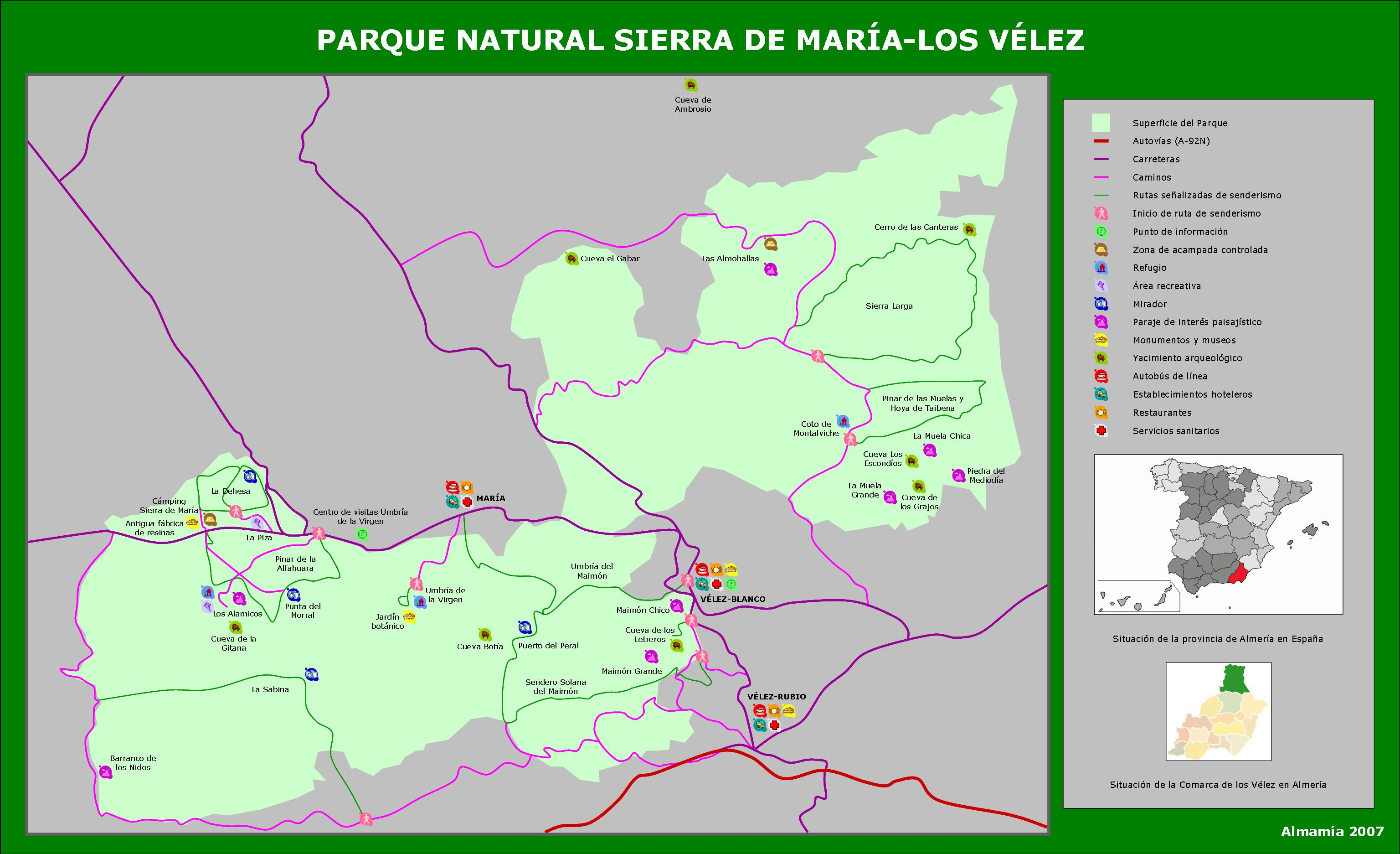 Map of Sierra de María-Los Vélez Natural Park 2007