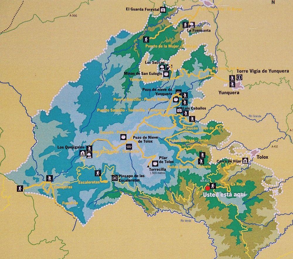Map of Sierra de las Nieves Natural Park 2005