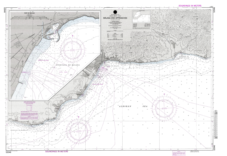 Carta náutica de Málaga y aproches 1986