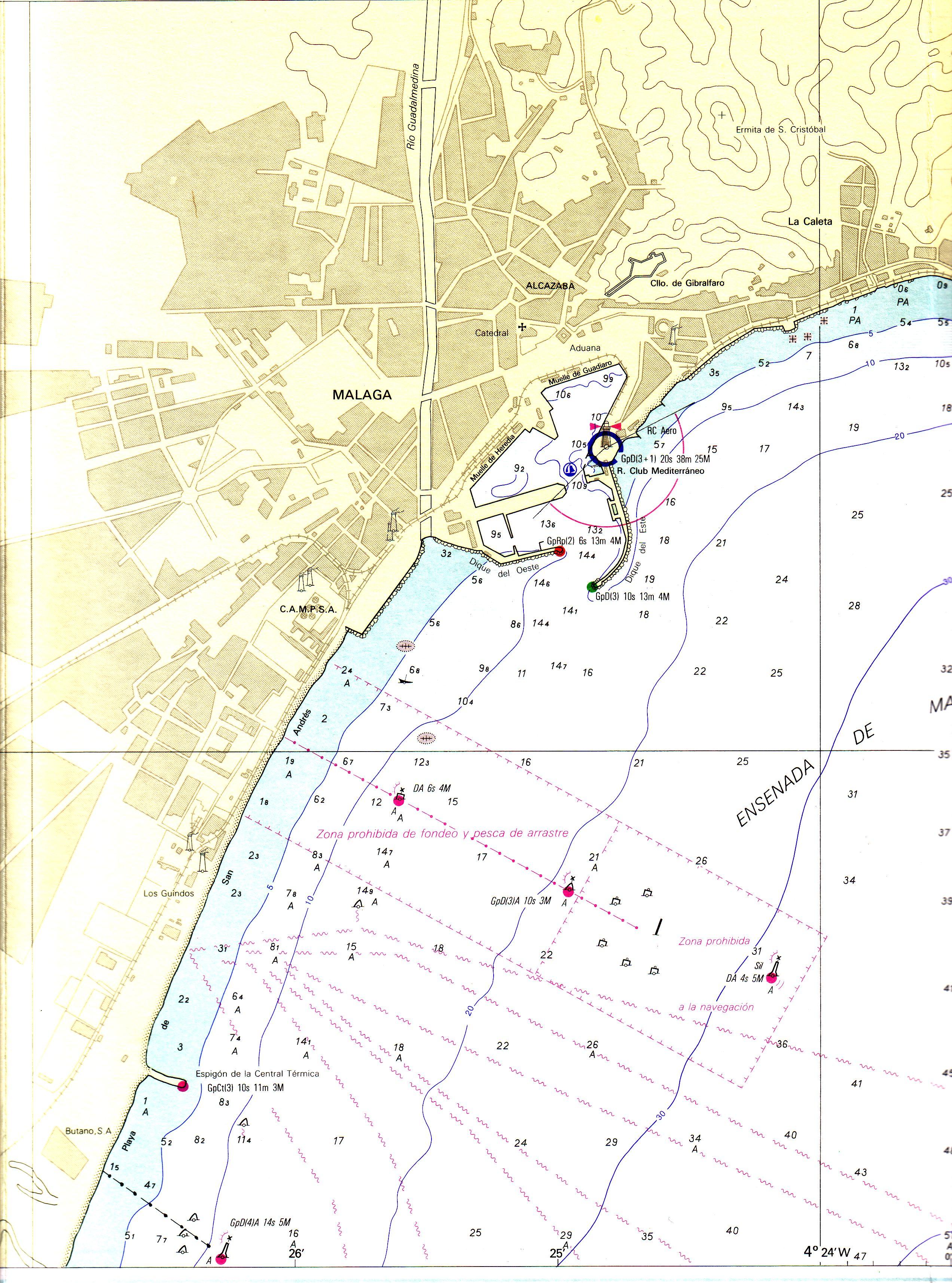 Carta náutica del puerto de Málaga