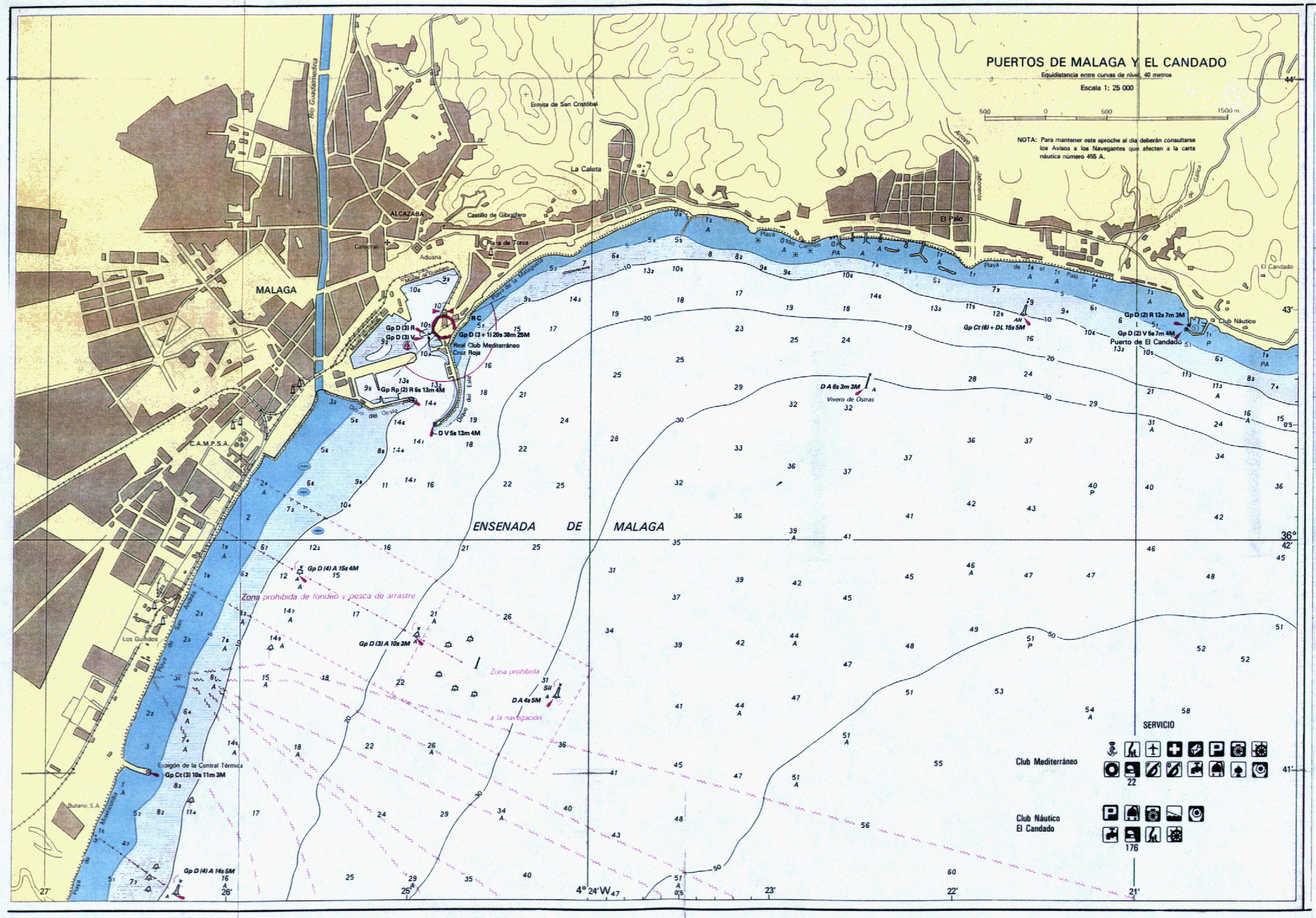 Nautical chart of the ports of Málaga and El Candado