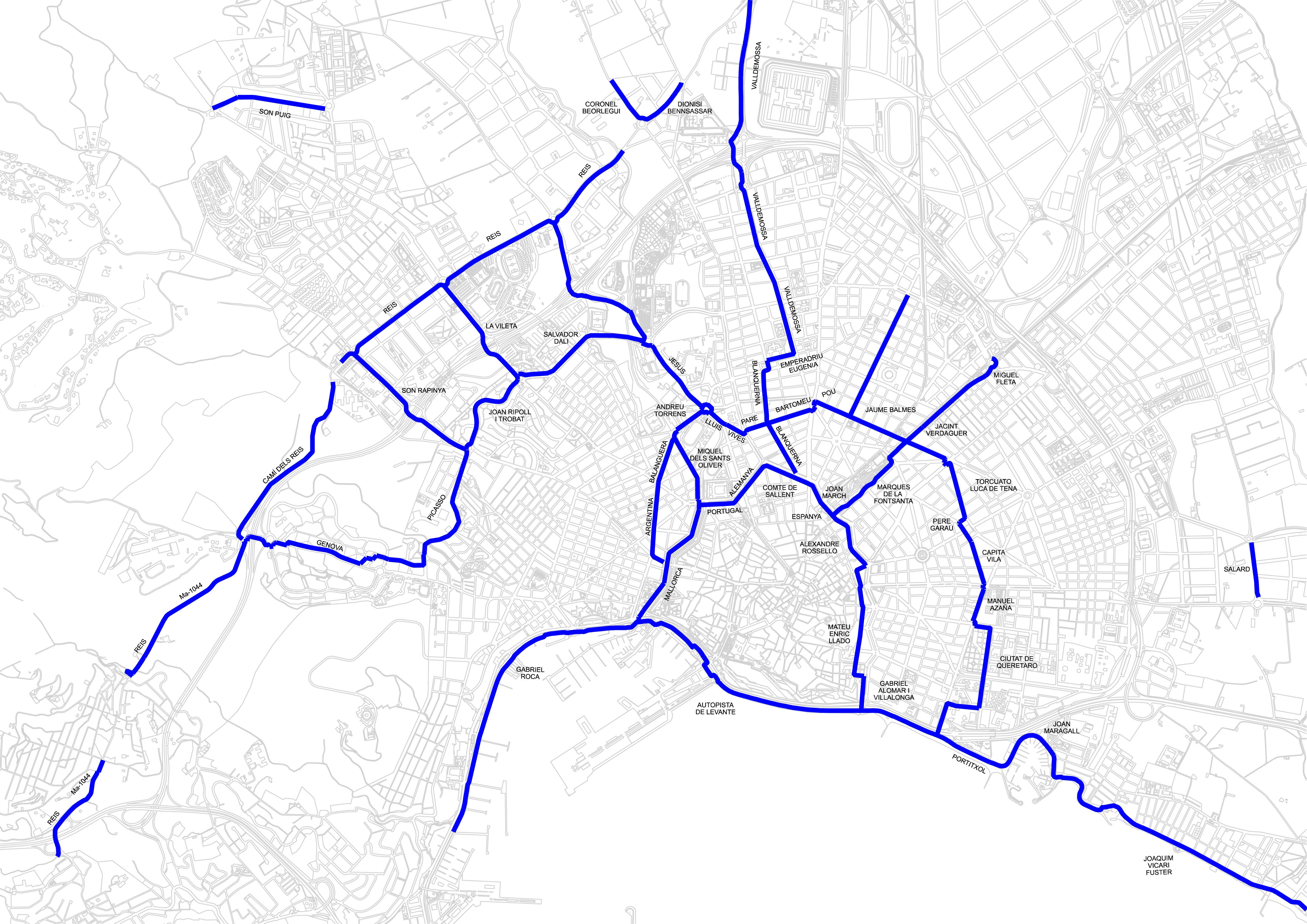 Red de carriles bici de Palma