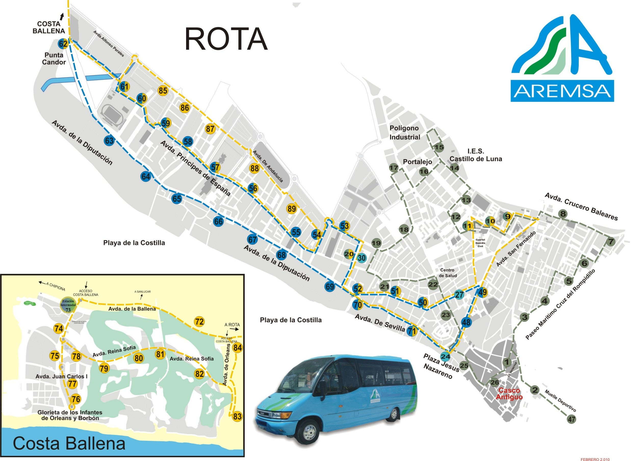 Location map of bus stops in Rota