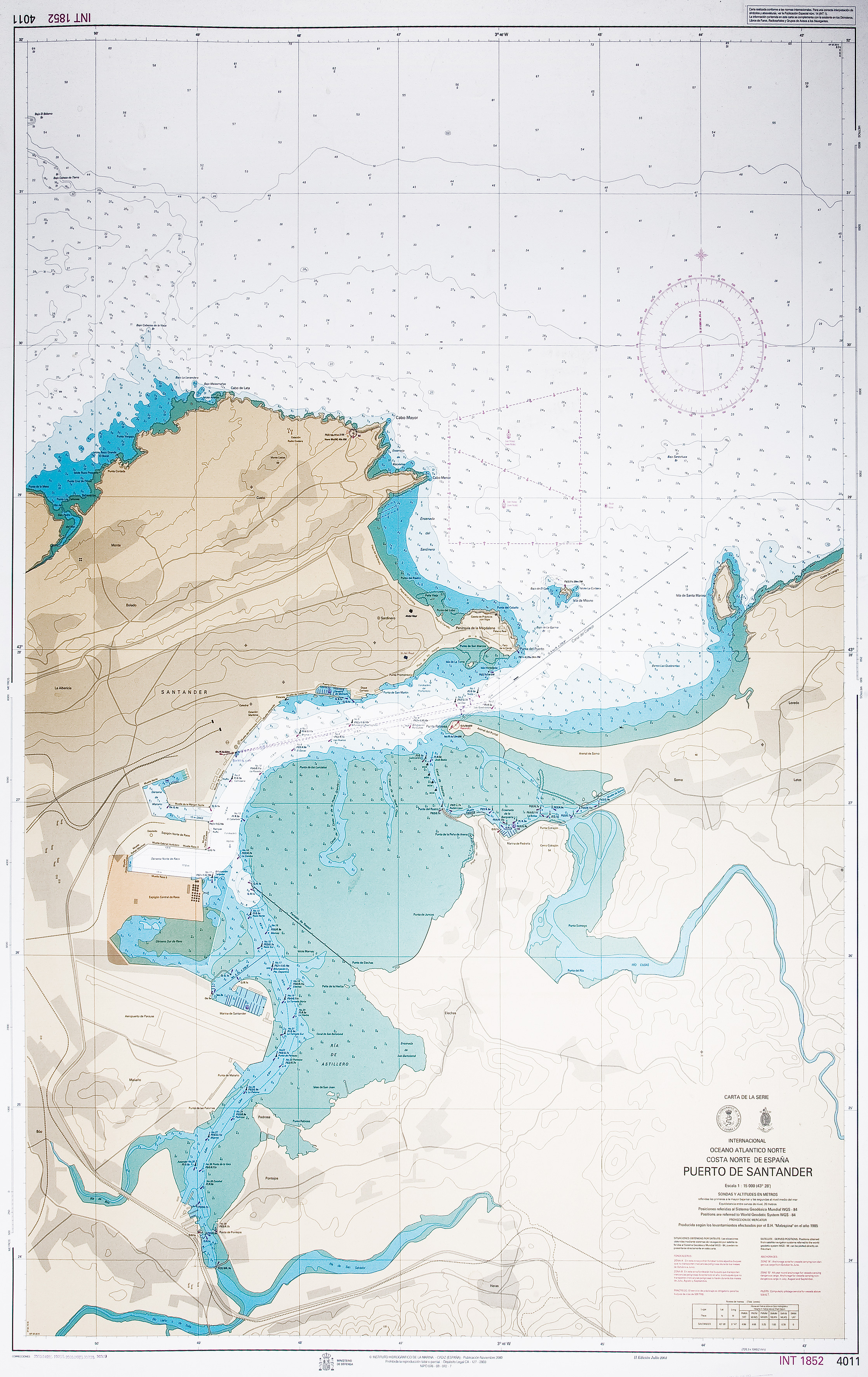 Nautical chart of the port of Santander 2000