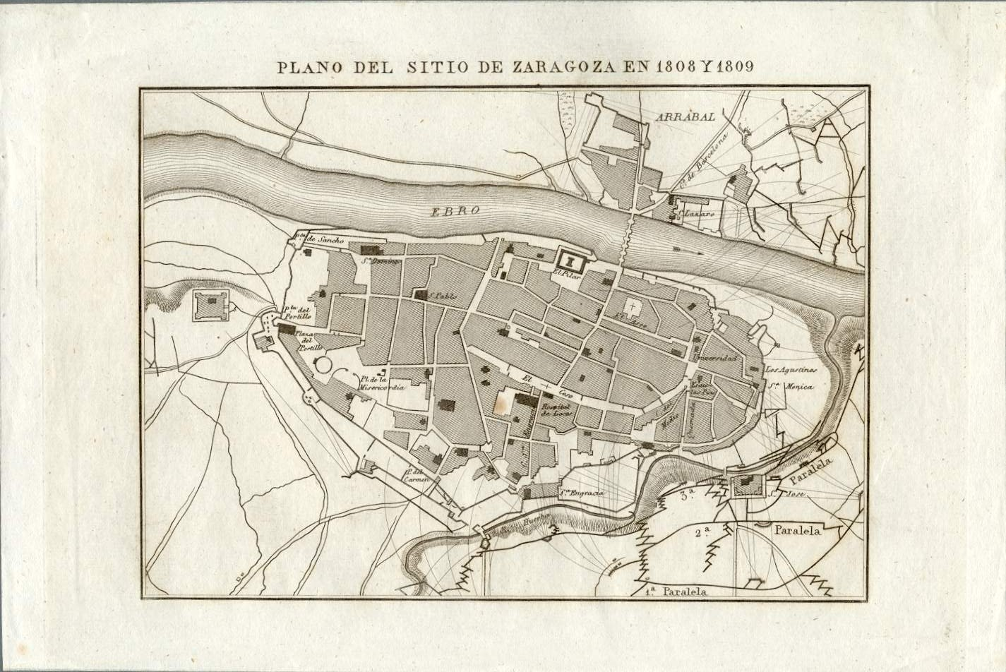 Map of the siege of Zaragoza in 1808 and 1809