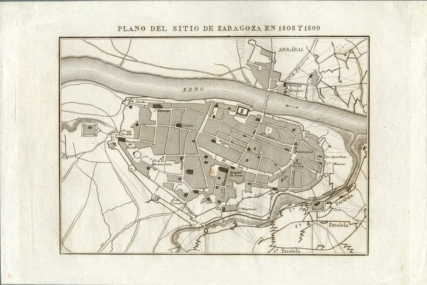 Plano del sitio de Zaragoza en 1808 y 1809