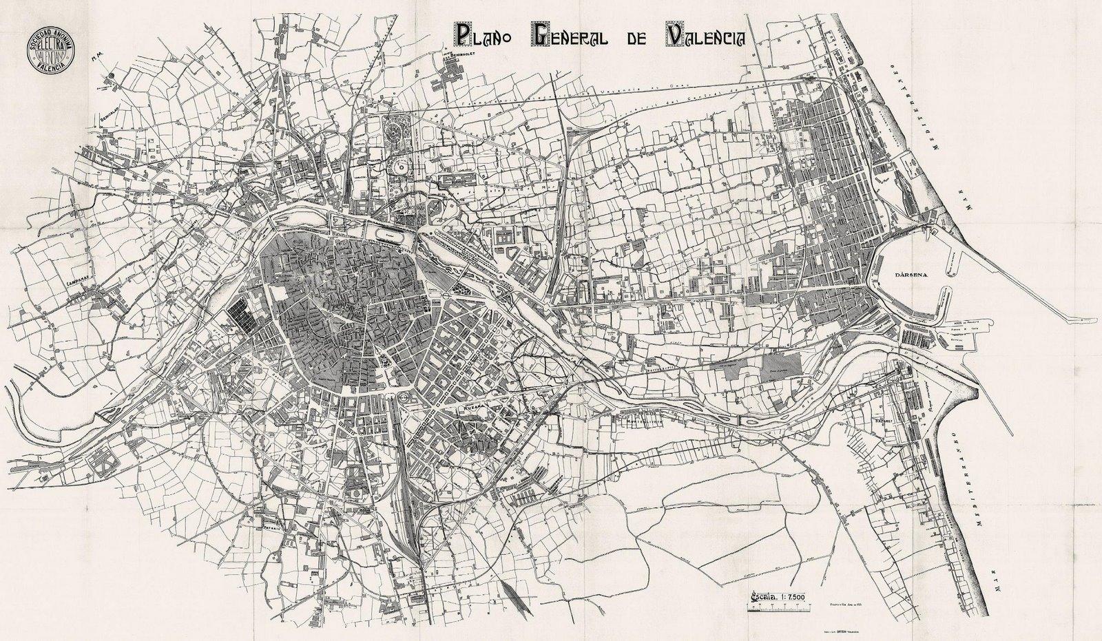 Plano general de Valencia 1925