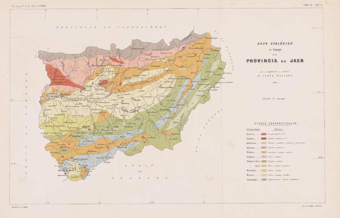 Mapa geológico de la provincia de Jaén 1883