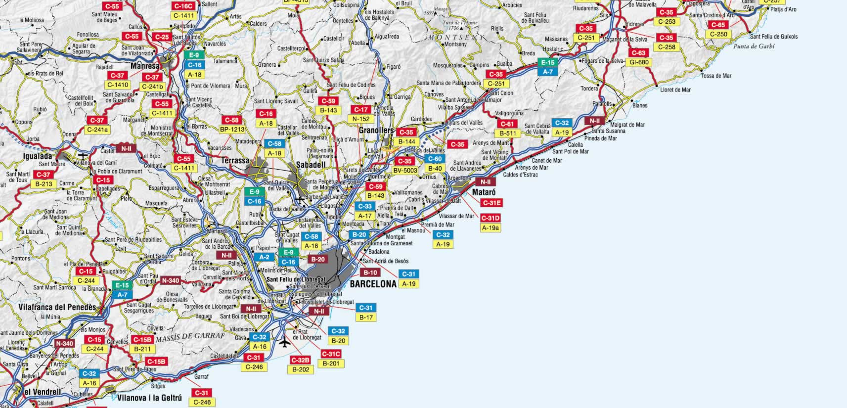 Mapa de carreteras de la Provincia de Barcelona