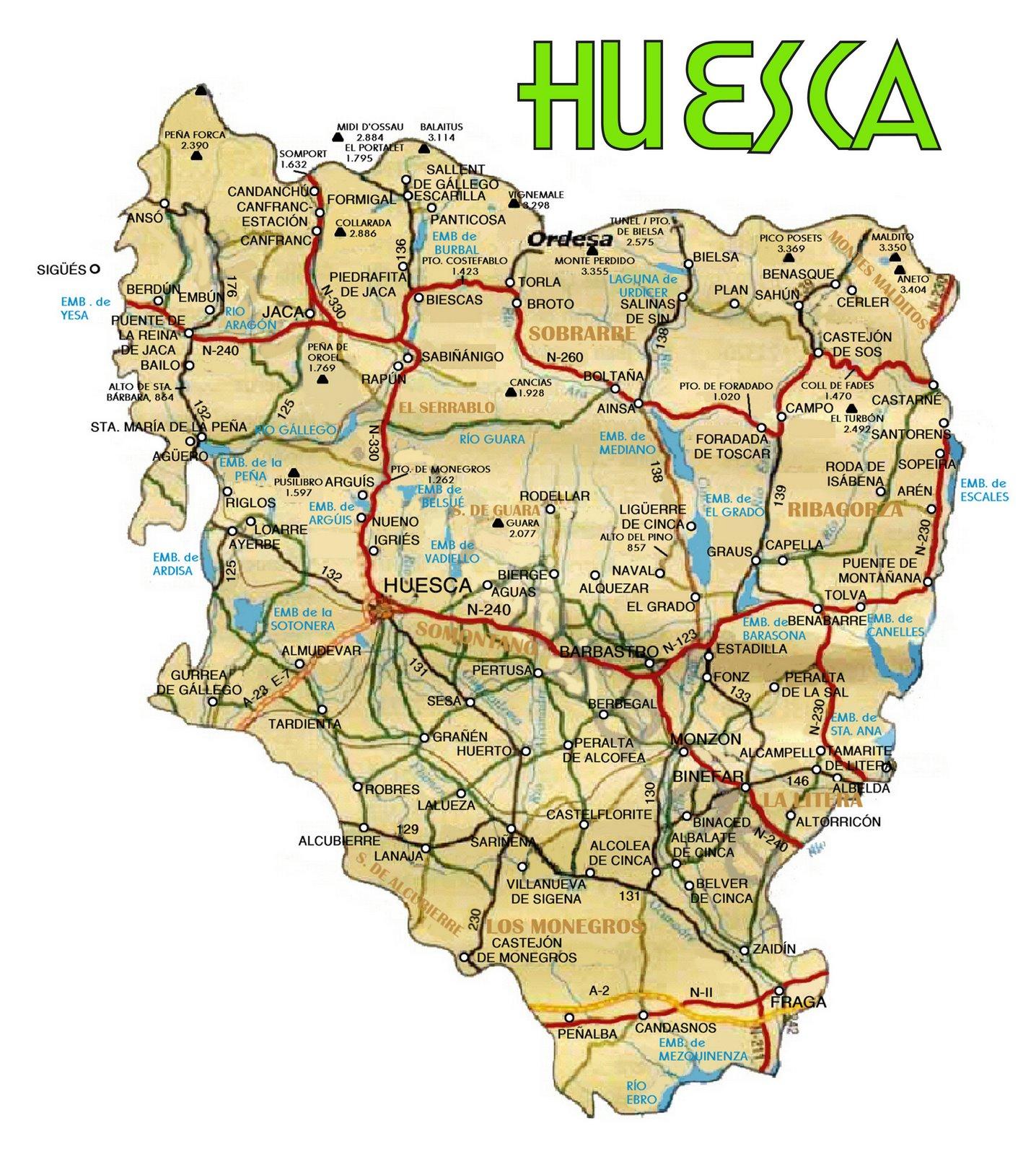 Mapa de carreteras de la Provincia de Huesca