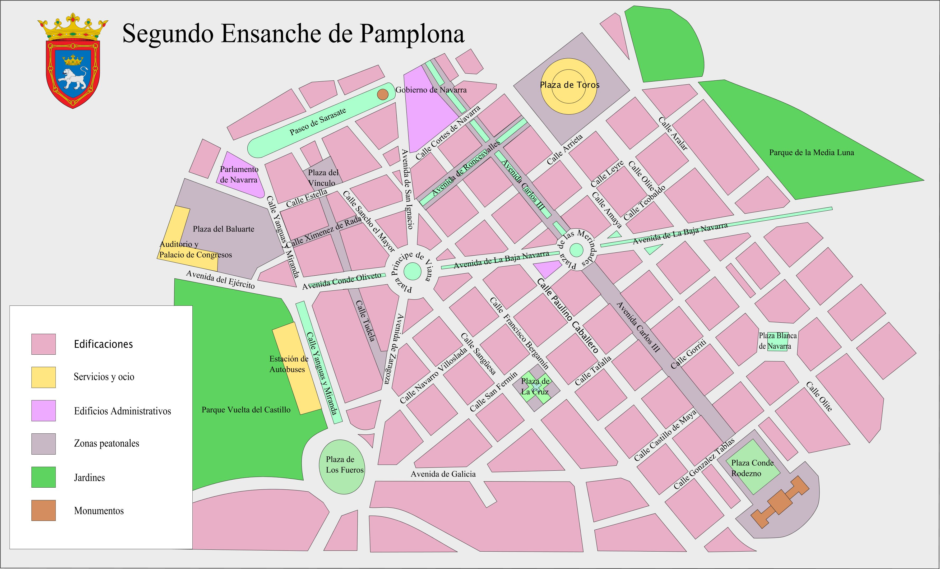Map of the second expansion of Pamplona