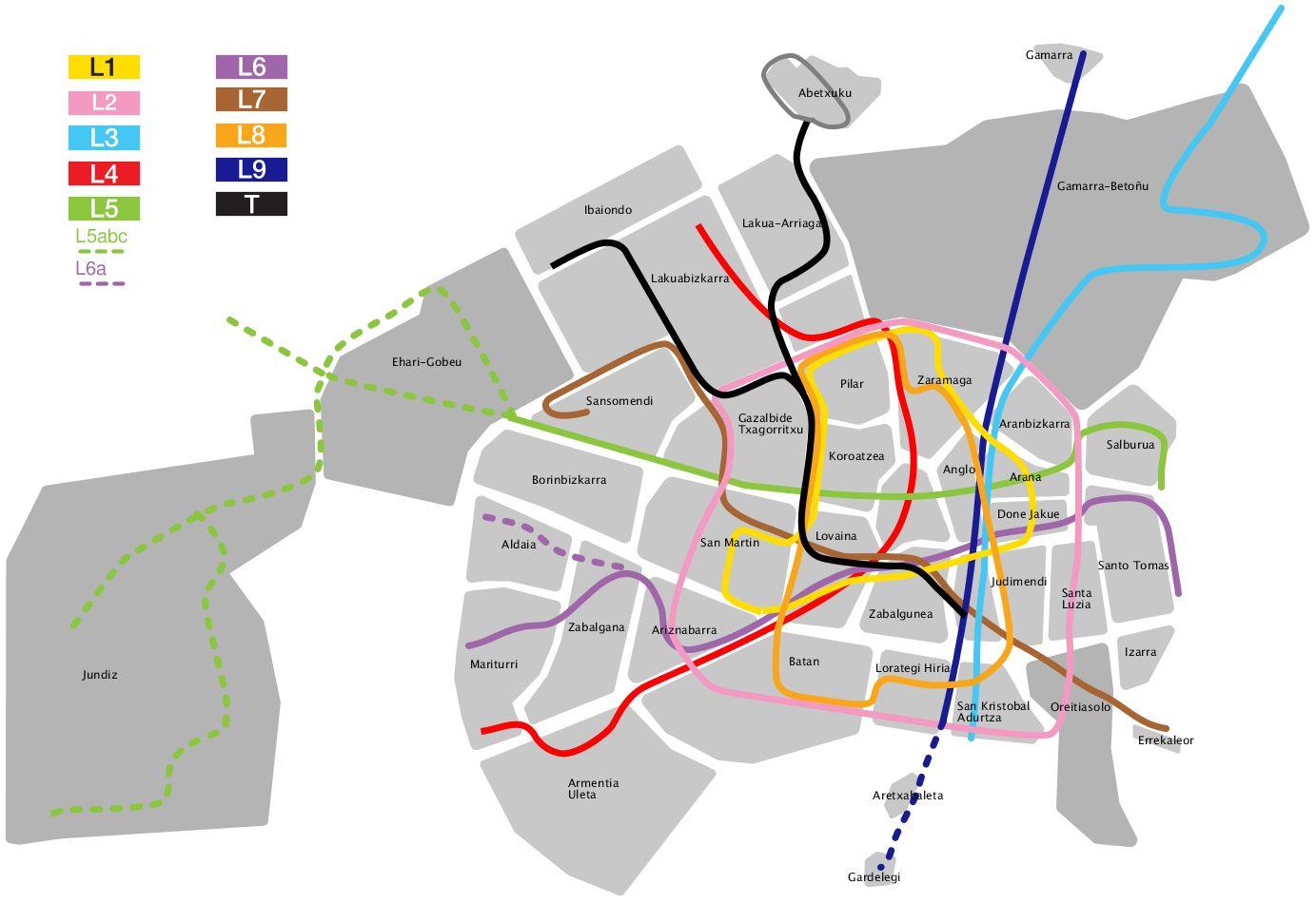 Líneas de autobús y tranvía de Vitoria 2010