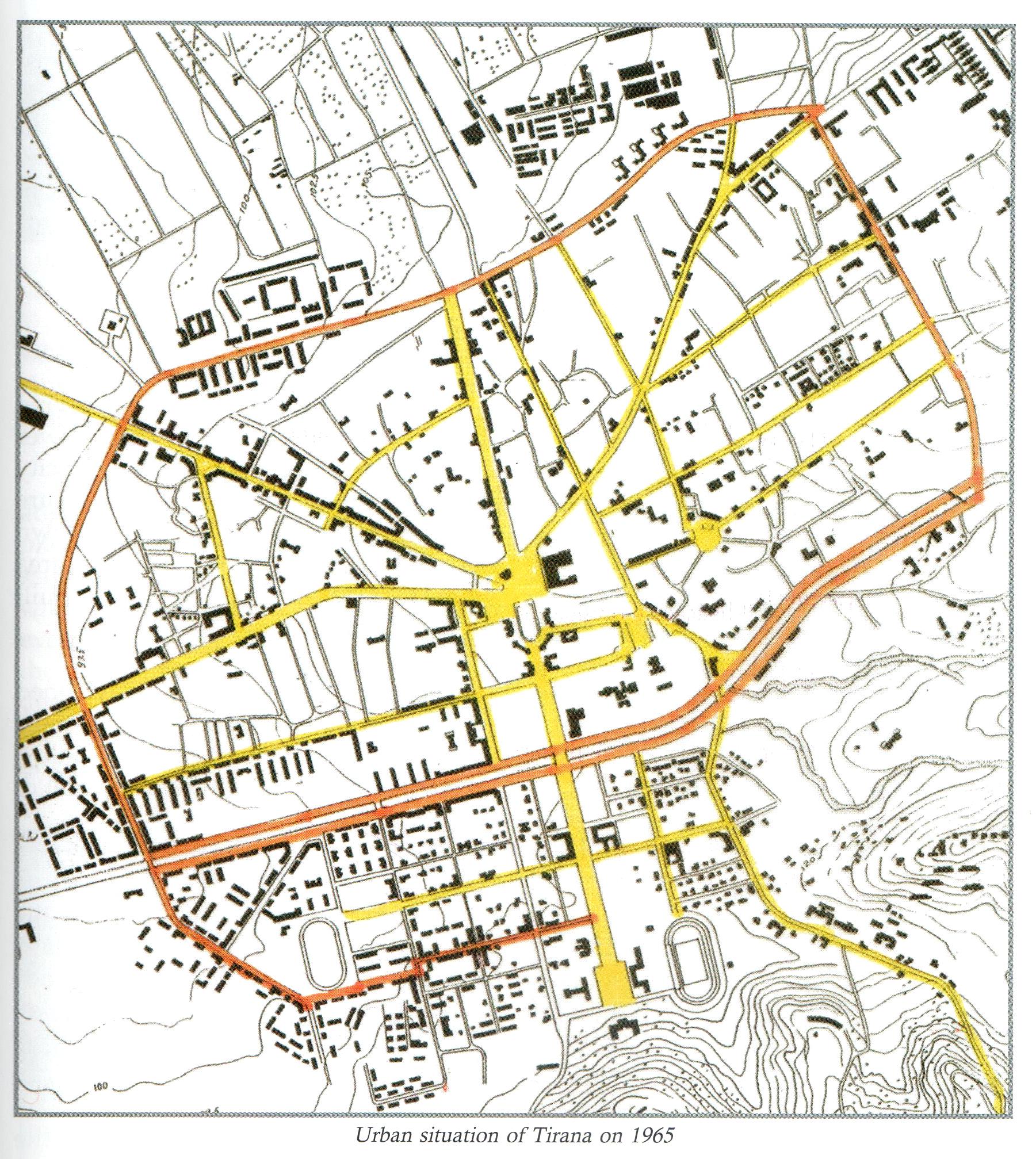 Mapa de Tirana 1957