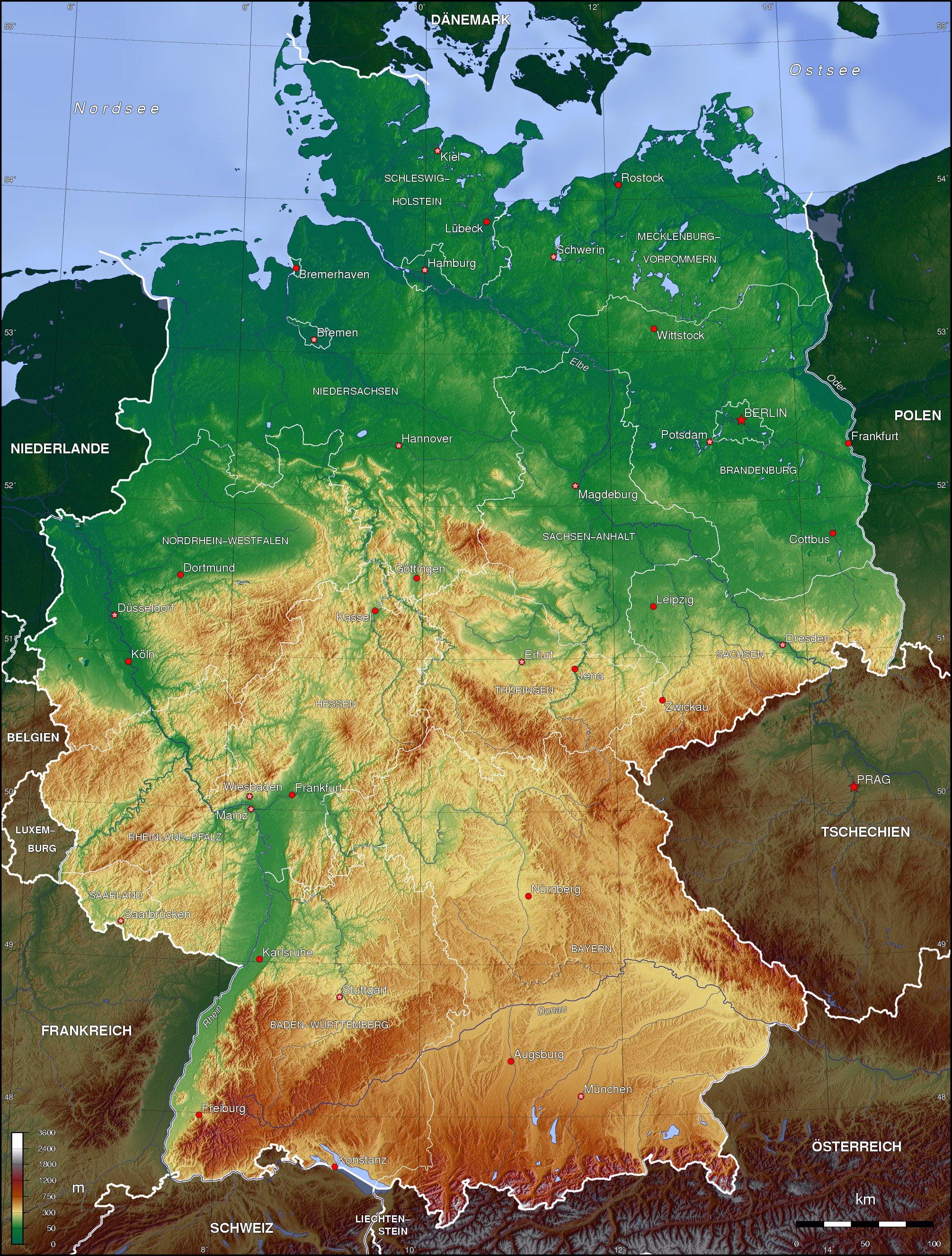 Mapa topográfico de Alemania 2006