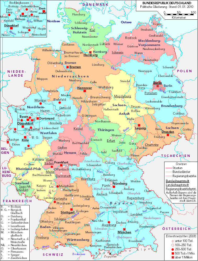 Political map of Germany 2010